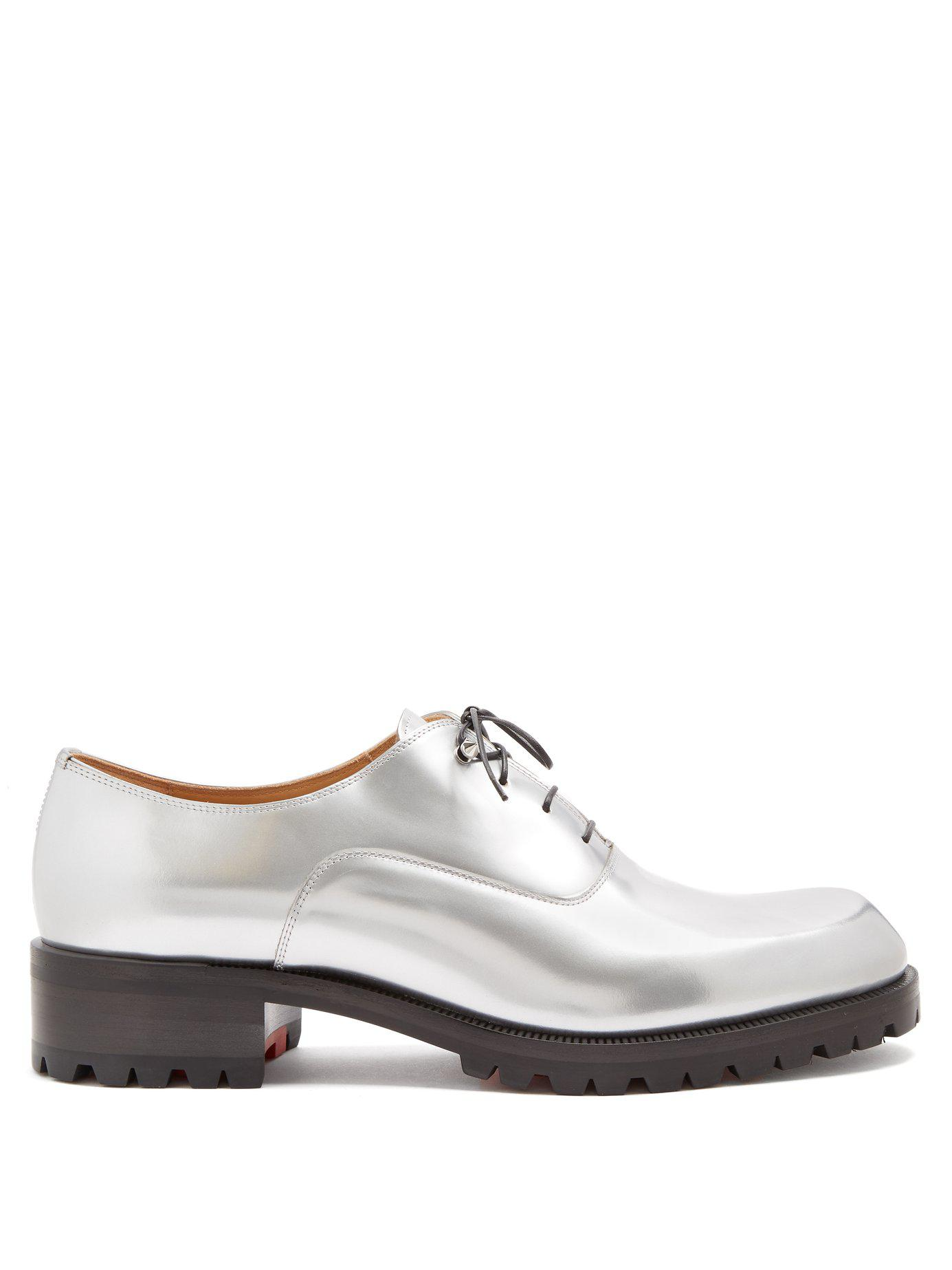 afe11e03f0b Christian Louboutin Sopeter Tread Sole Leather Derby Shoes in ...