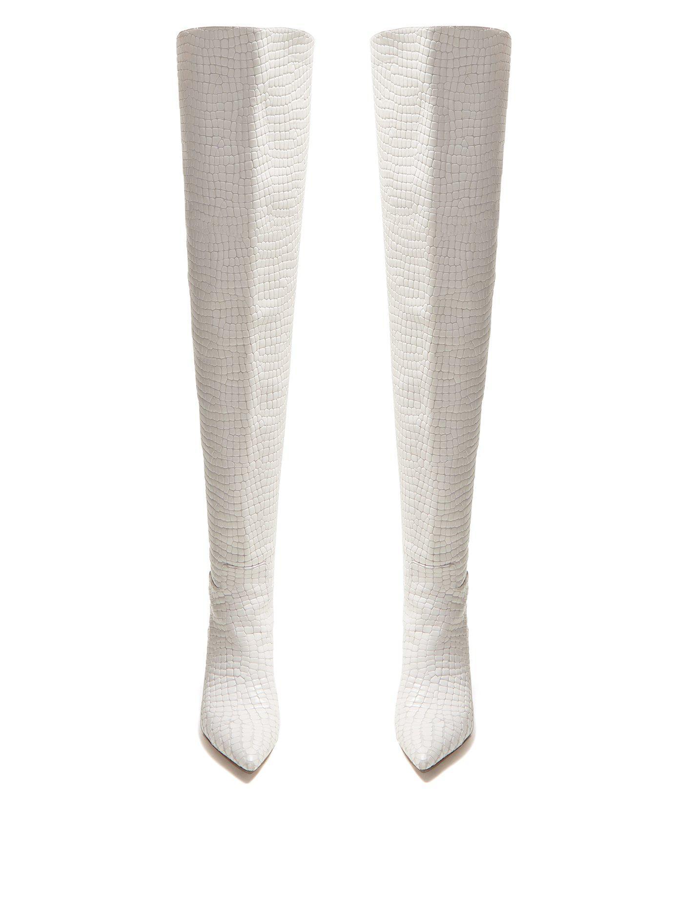 510564286e2 Lyst - Attico Crocodile Effect Leather Over The Knee Boots in White