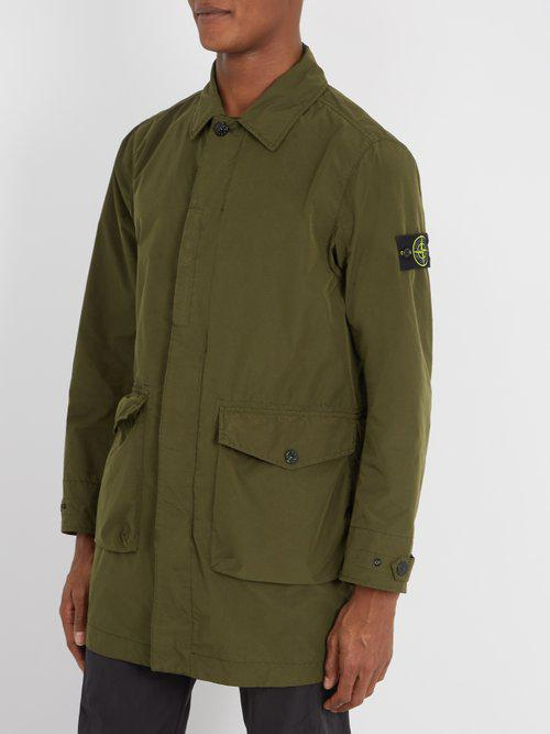 Stone Island Synthetic Four-pocket Point-collar Jacket in Khaki (Green) for Men