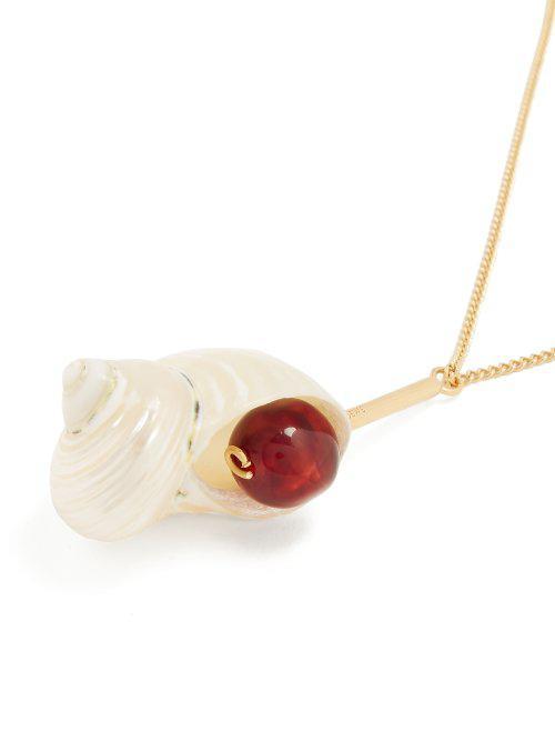 Loewe Shell & Resin Pendant Necklace Gold in Burgundy (Metallic)