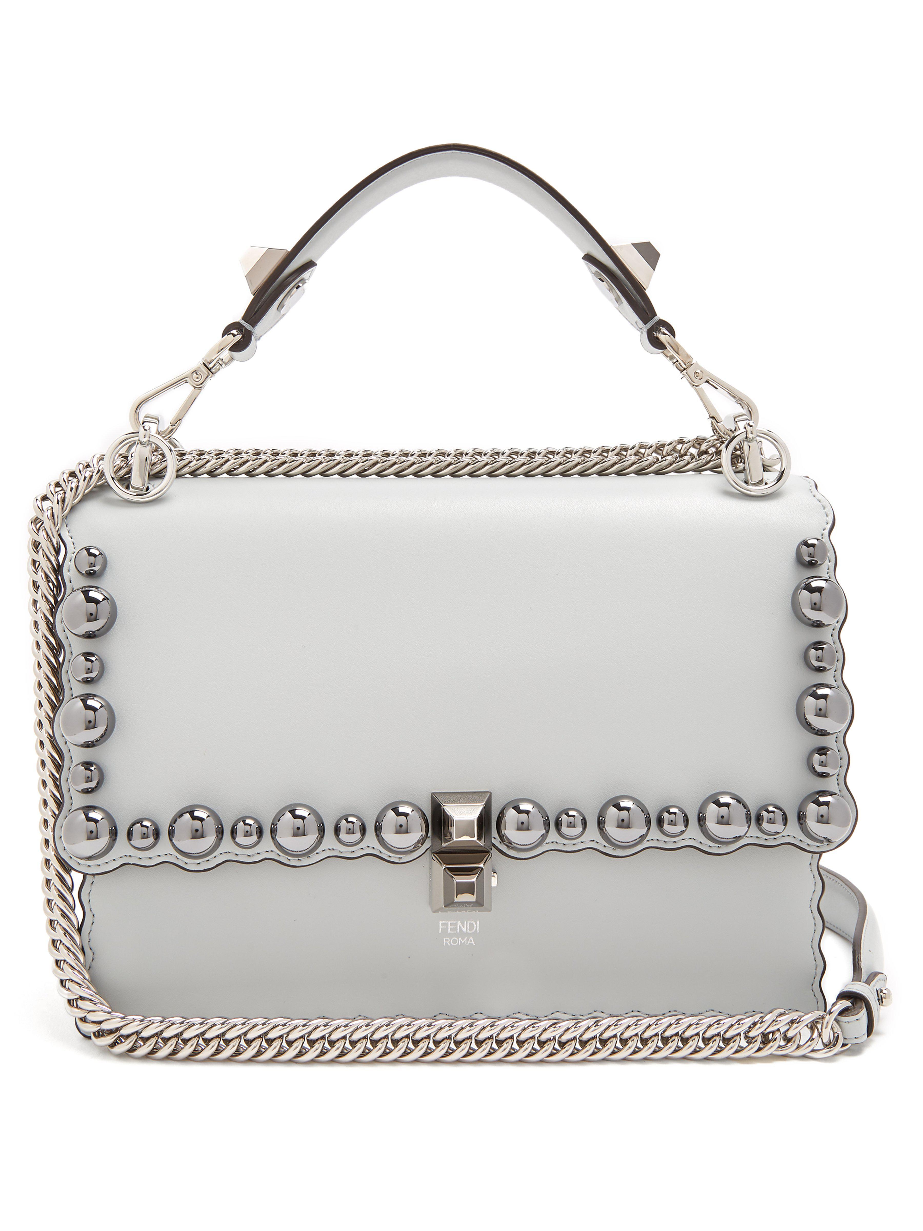 5340b14e6bd4 Fendi Kan I Leather Cross Body Bag in Blue - Lyst