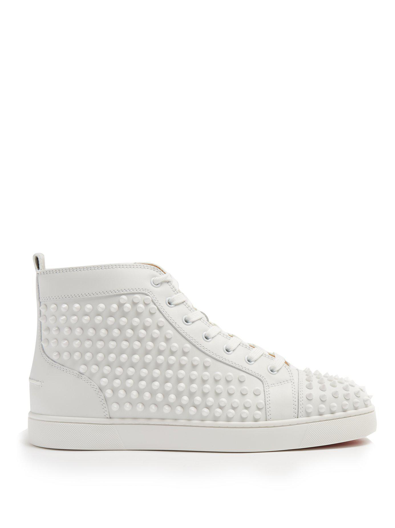 c442a10f7f4a Lyst - Christian Louboutin Louis Spiked Leather High Top Trainers in ...