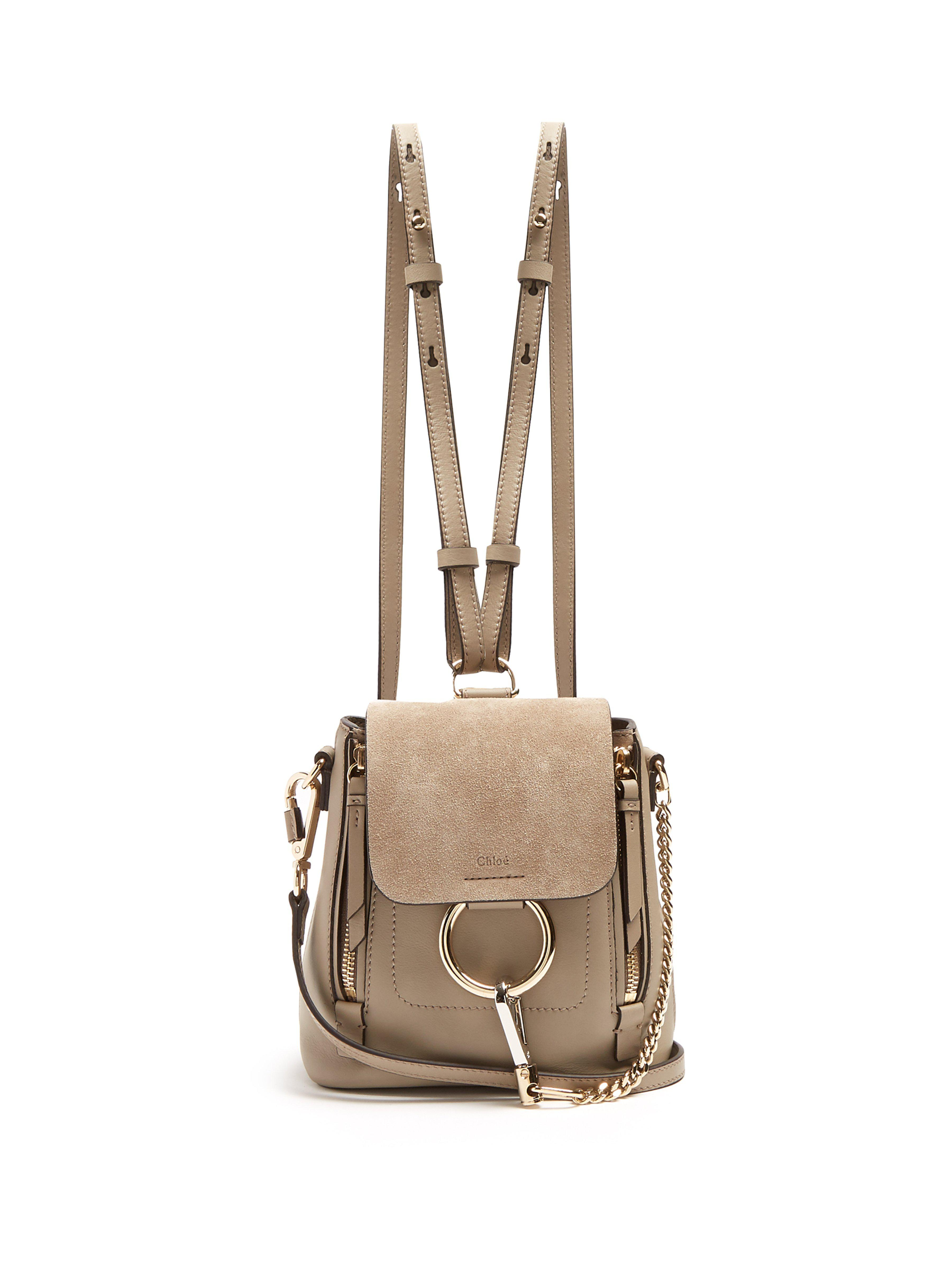 50adff7f9b9bc Chloé Faye Suede And Leather Mini Backpack in Gray - Lyst