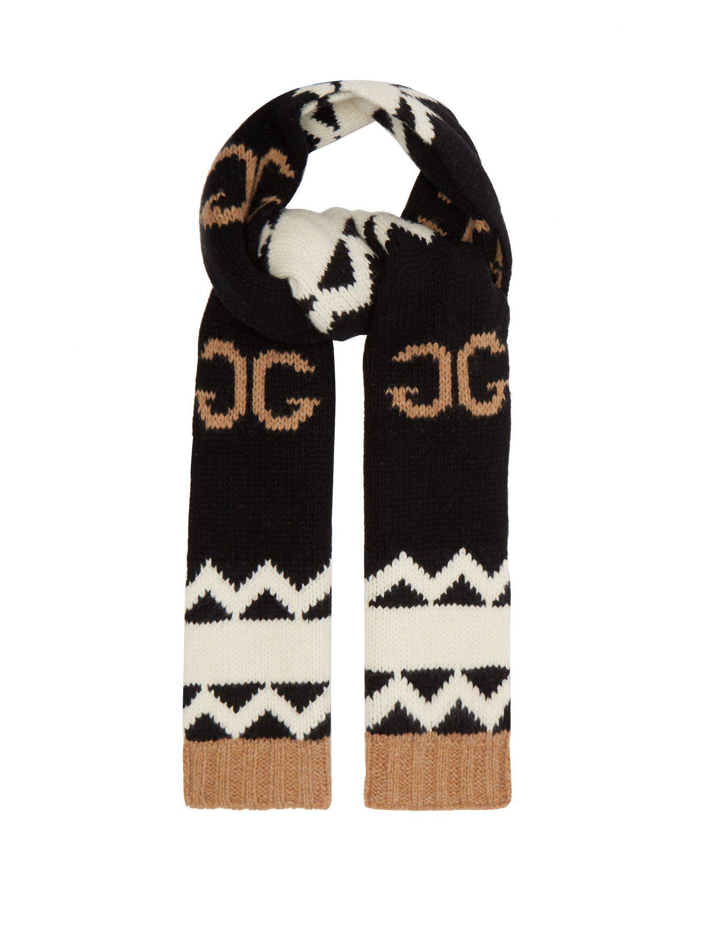 ab6b85f1ee62a Lyst - Gucci Gg Logo Intarsia Wool Scarf in Black for Men