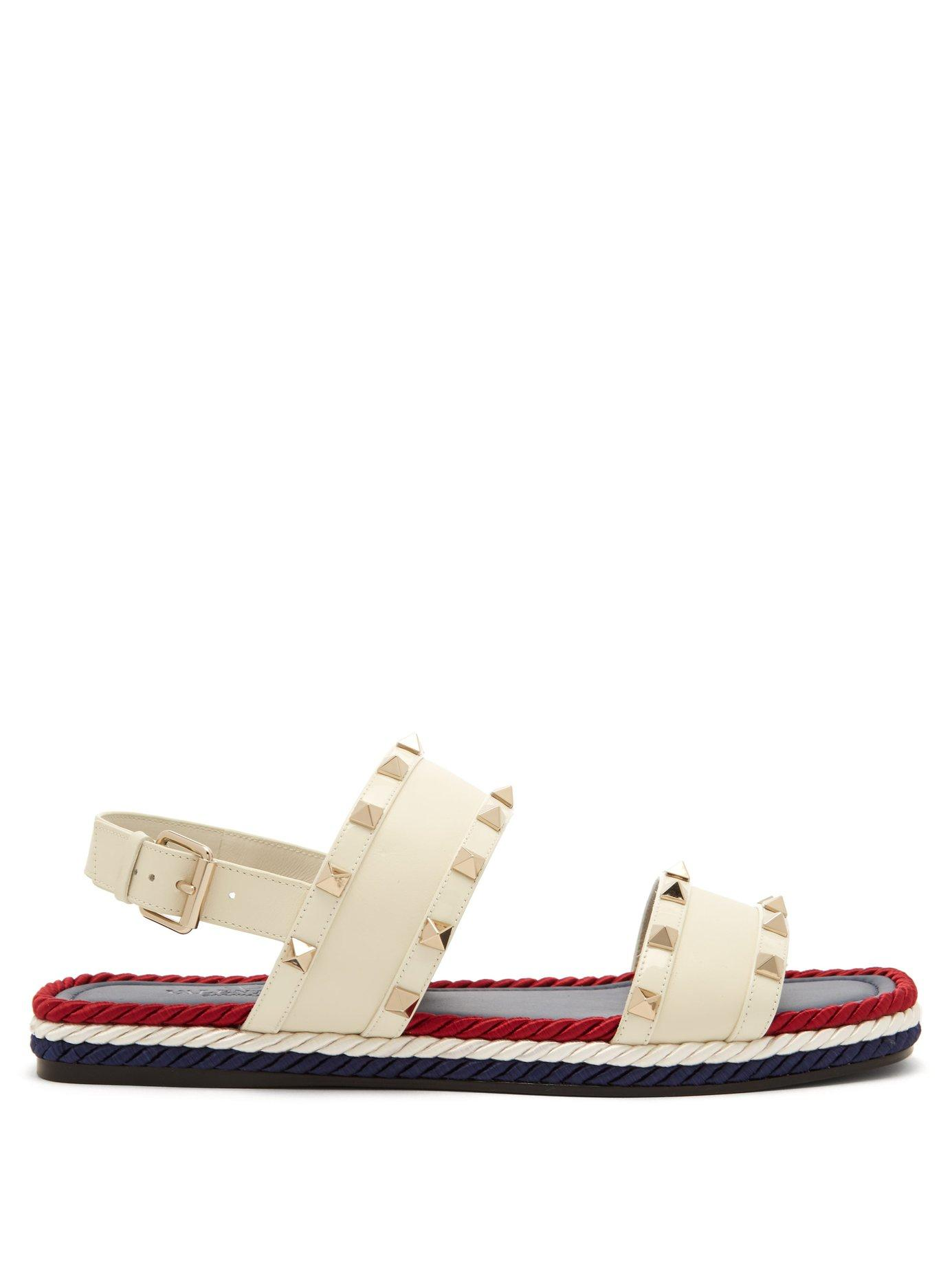 14a449ef13f Lyst - Valentino Torchon Rockstud Leather Sandals in White