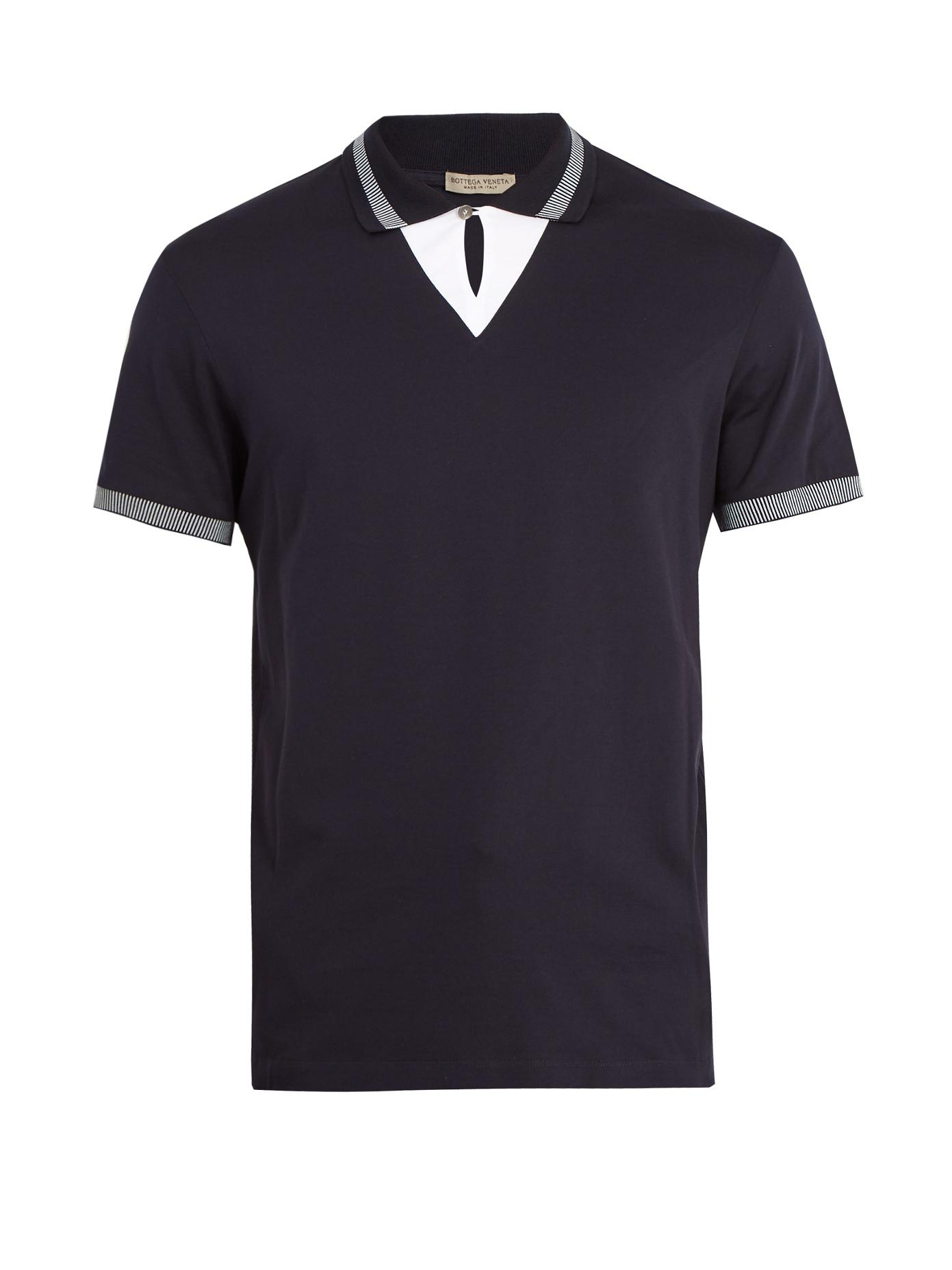Contrast-collar silk-piqué polo shirt Bottega Veneta 2018 New Sale Online 7BJUmfv