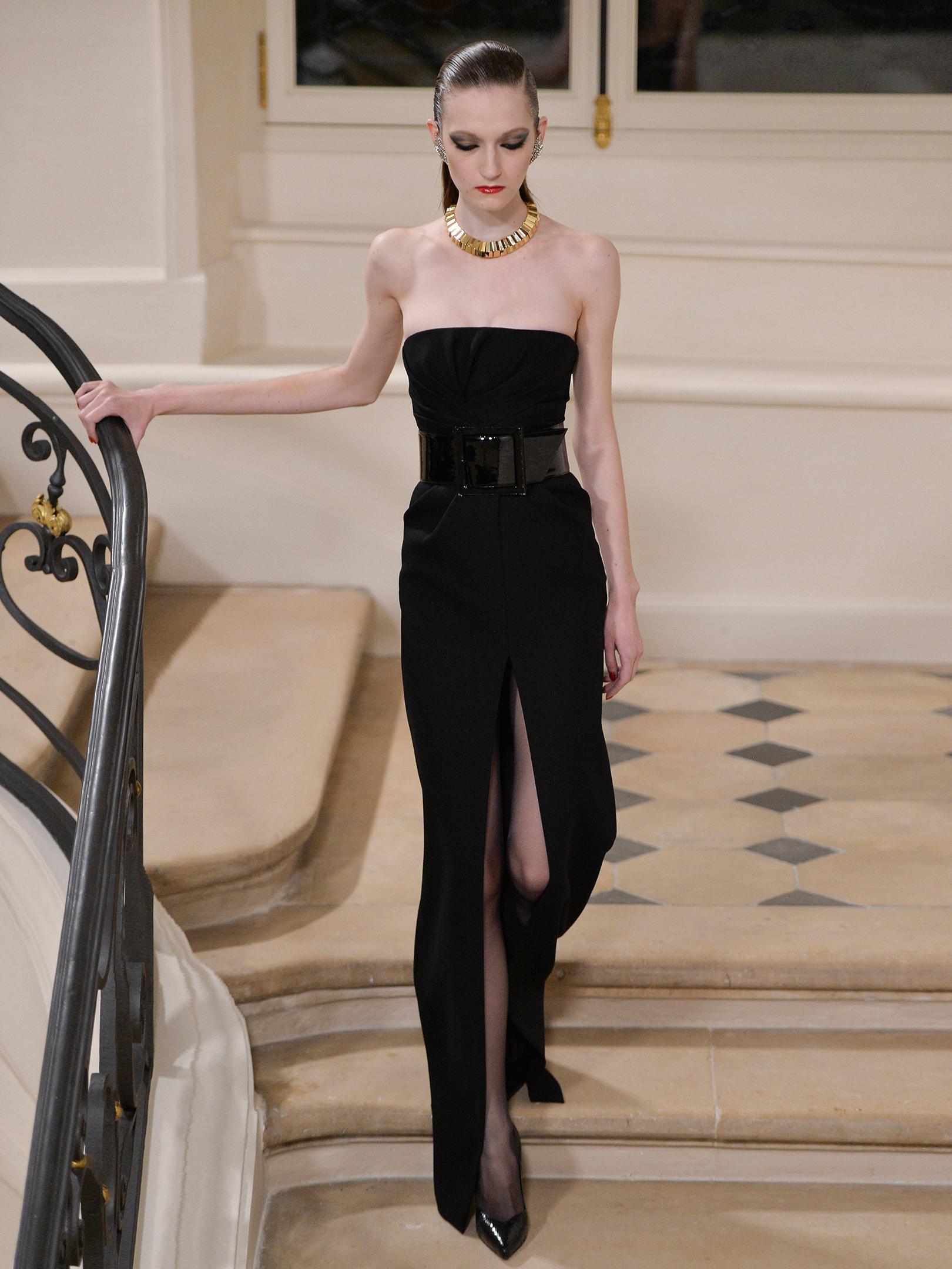 Saint Laurent Strapless Cut-out Slit Gown in Black - Lyst