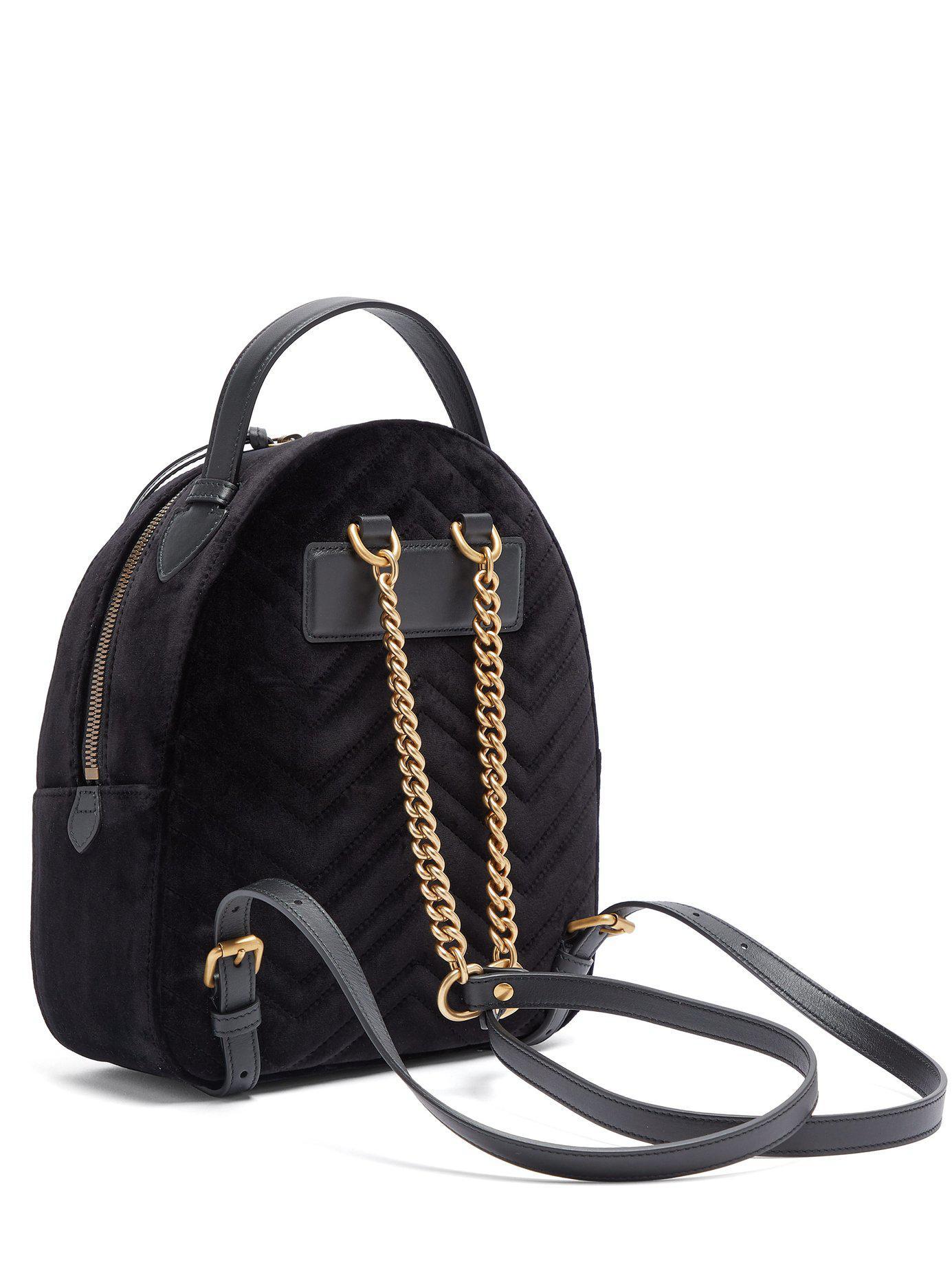 5086b88020d Gucci Gg Marmont Velvet Backpack in Black - Lyst