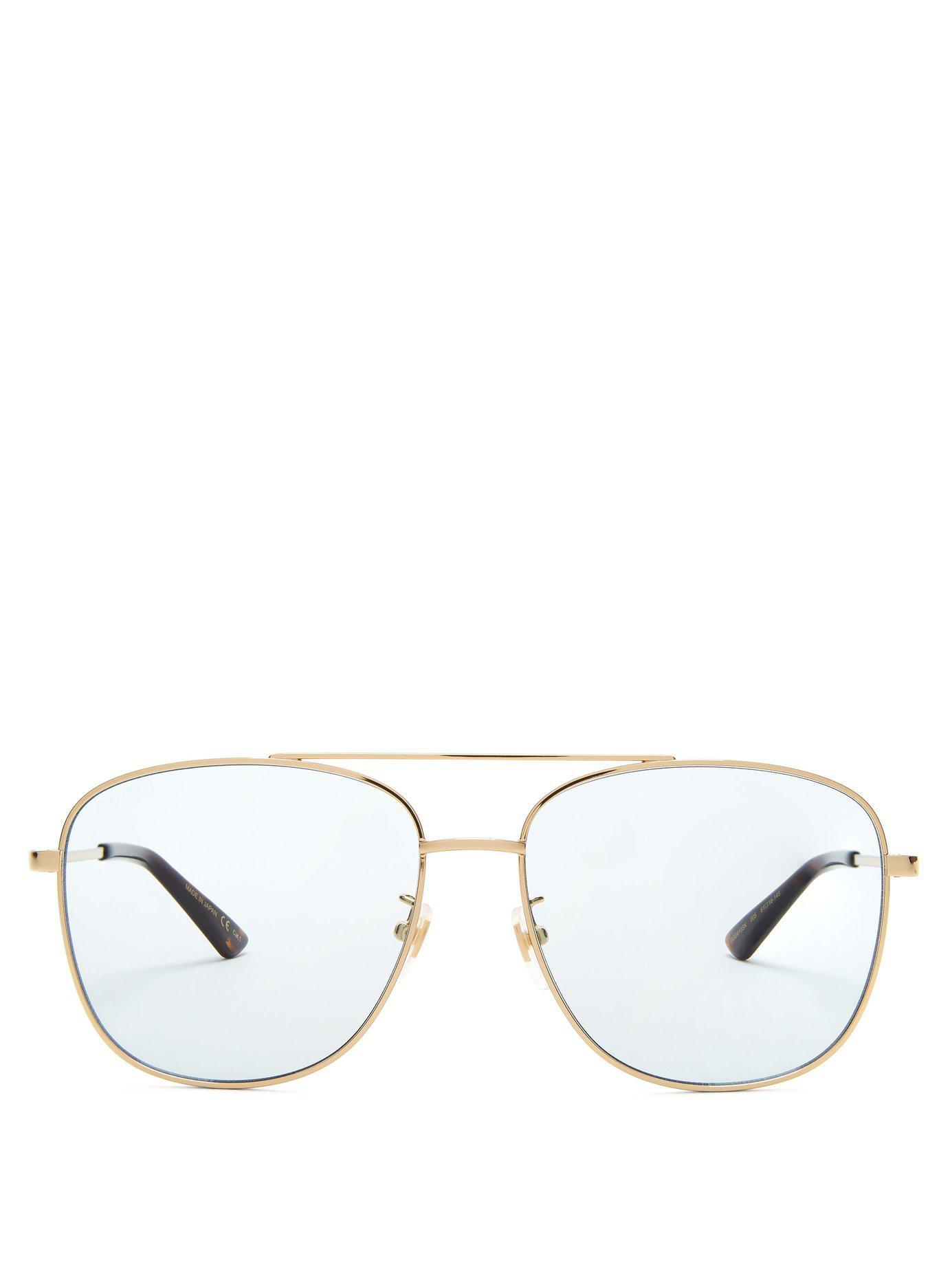 63be47d7182 Gucci Aviator Square Frame Metal Sunglasses in Blue - Lyst