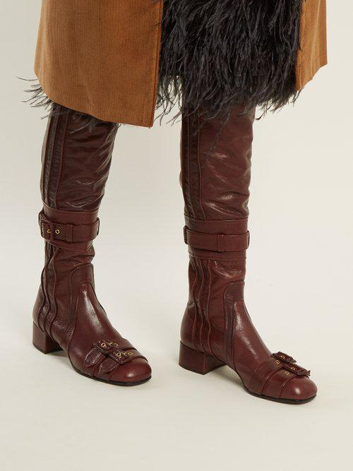 fashion styles clearance prices premium selection Buckle-embellished Over-the-knee Leather Boots