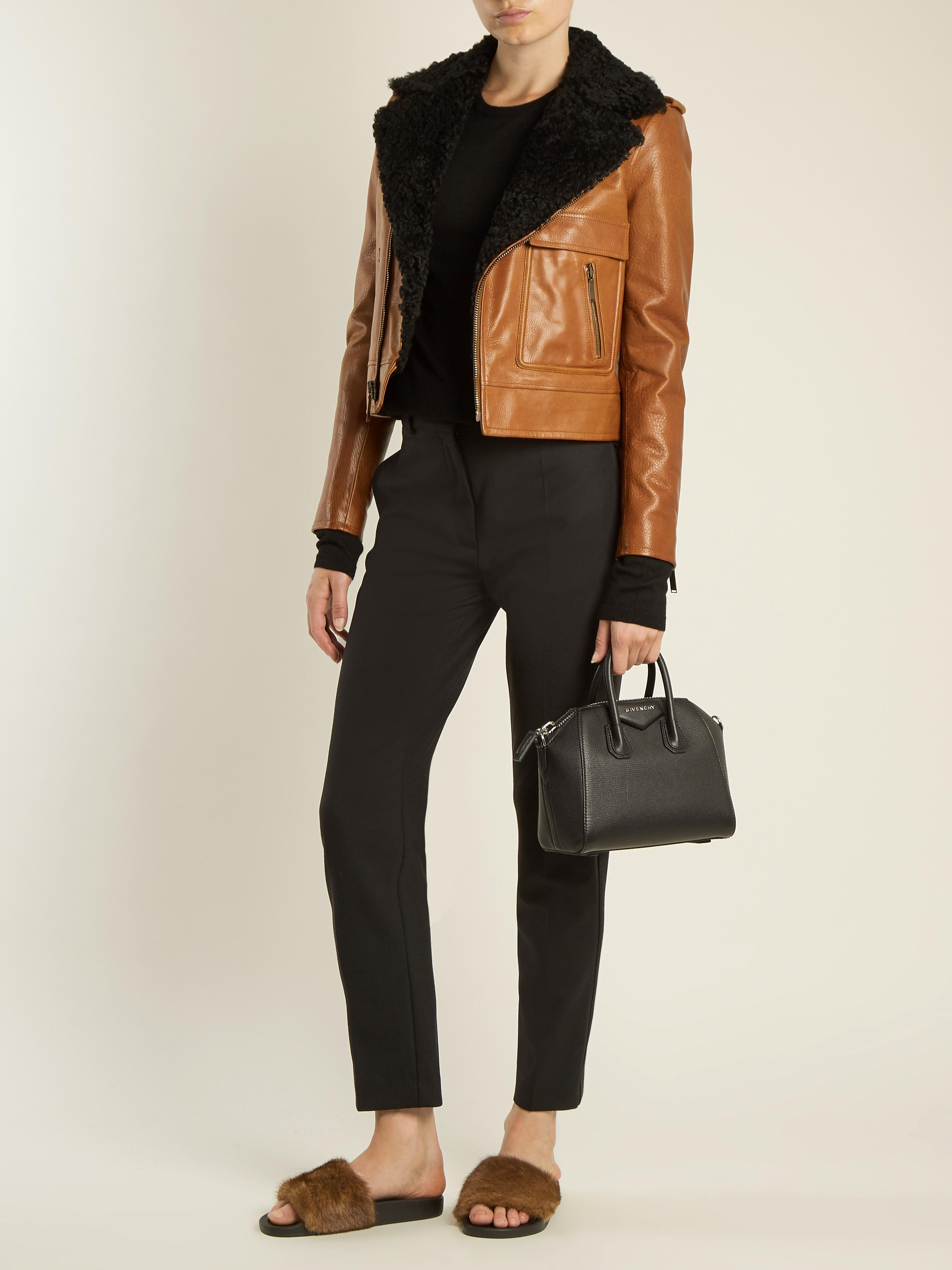 a103ea0e1191 Lyst - Givenchy Mink-fur And Rubber Slides in Brown
