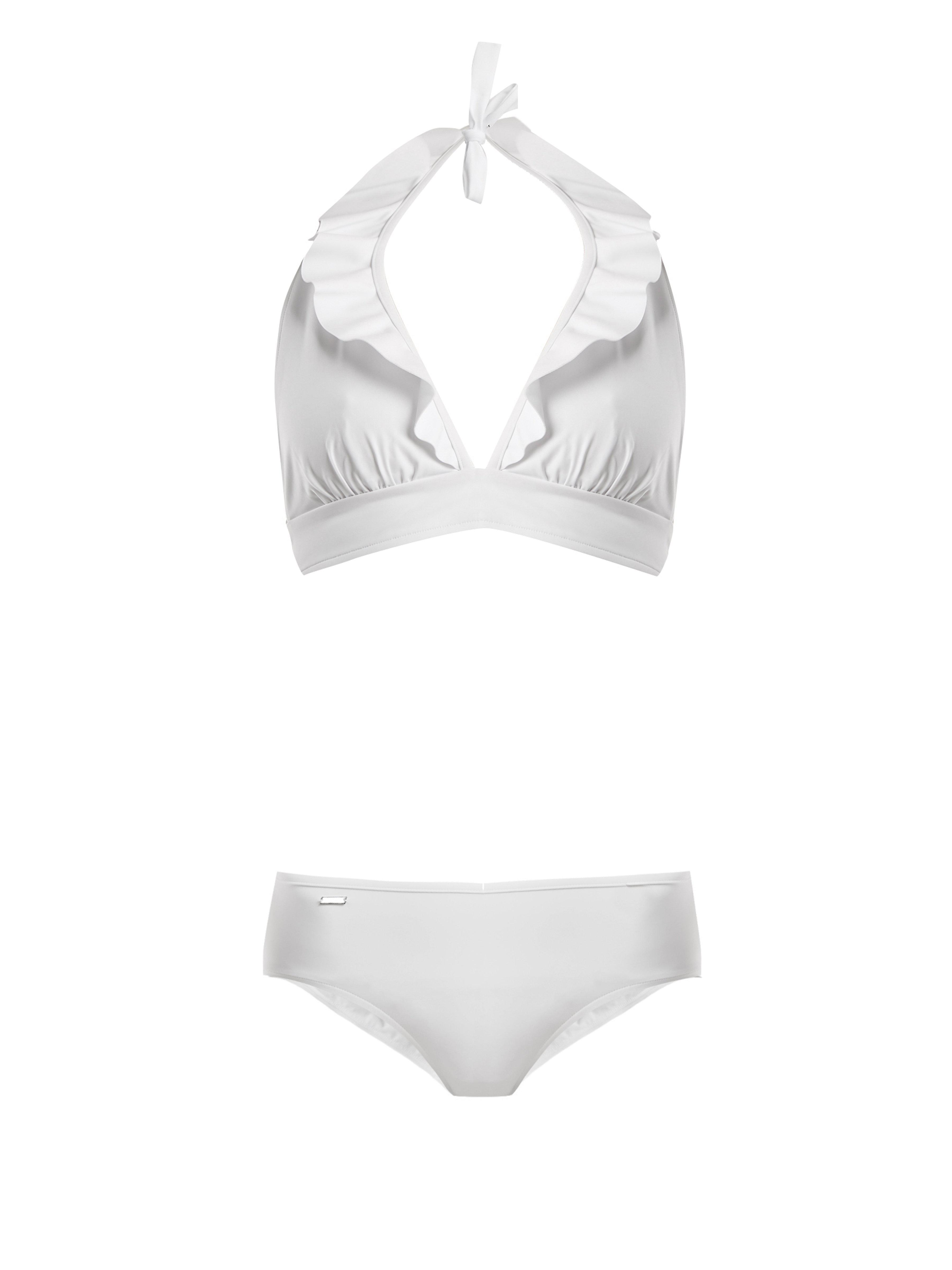 35ded5fc7f Fendi Bonded And Ruched Ruffle Bikini in White - Lyst
