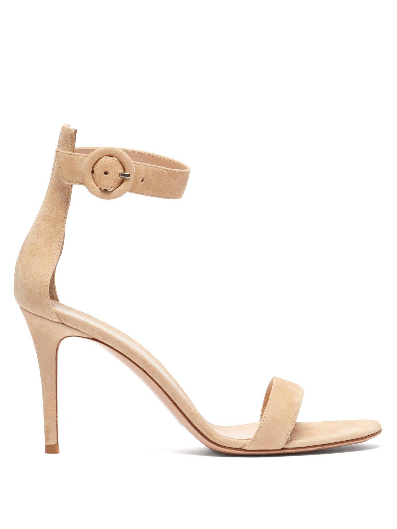 9c9ed94c2b4 Lyst - Gianvito Rossi Portofino 85 Suede Sandals in Natural