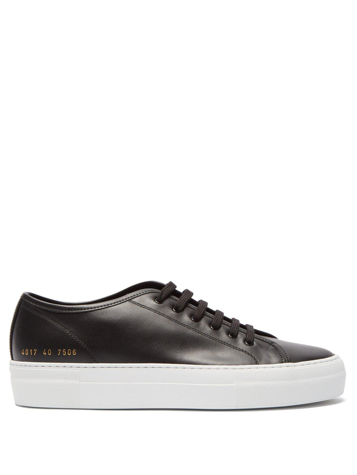 d3434542fbe0e Lyst - Common Projects Tournament Flatform Leather Trainers in Black