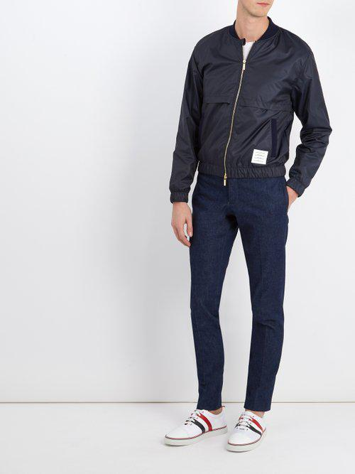 Thom Browne Cotton Low-rise Straight-leg Trousers in Navy (Blue) for Men