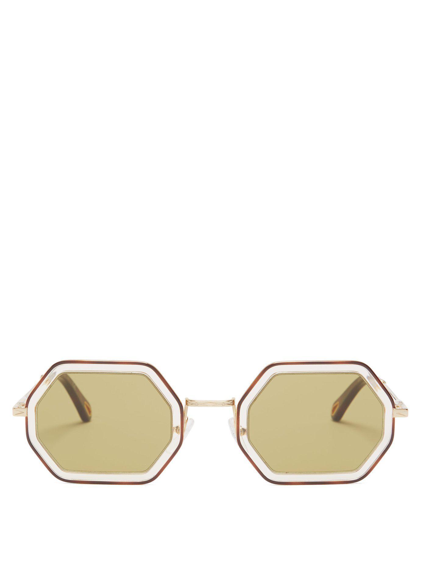 9582b2a3c93 Lyst - Chloé Tally Hexagon Frame Sunglasses in Green
