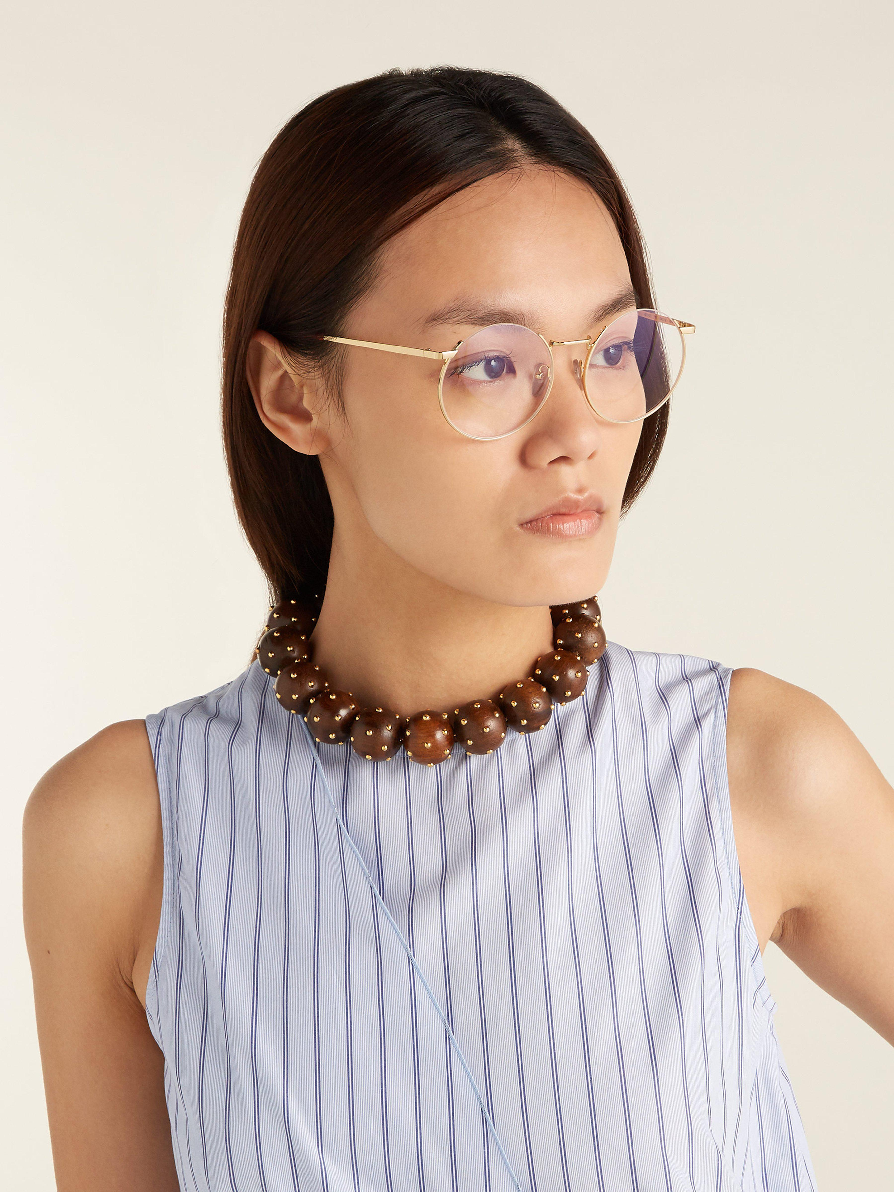 cba402f355a Marni Oversized Round Frame Glasses in Metallic - Lyst
