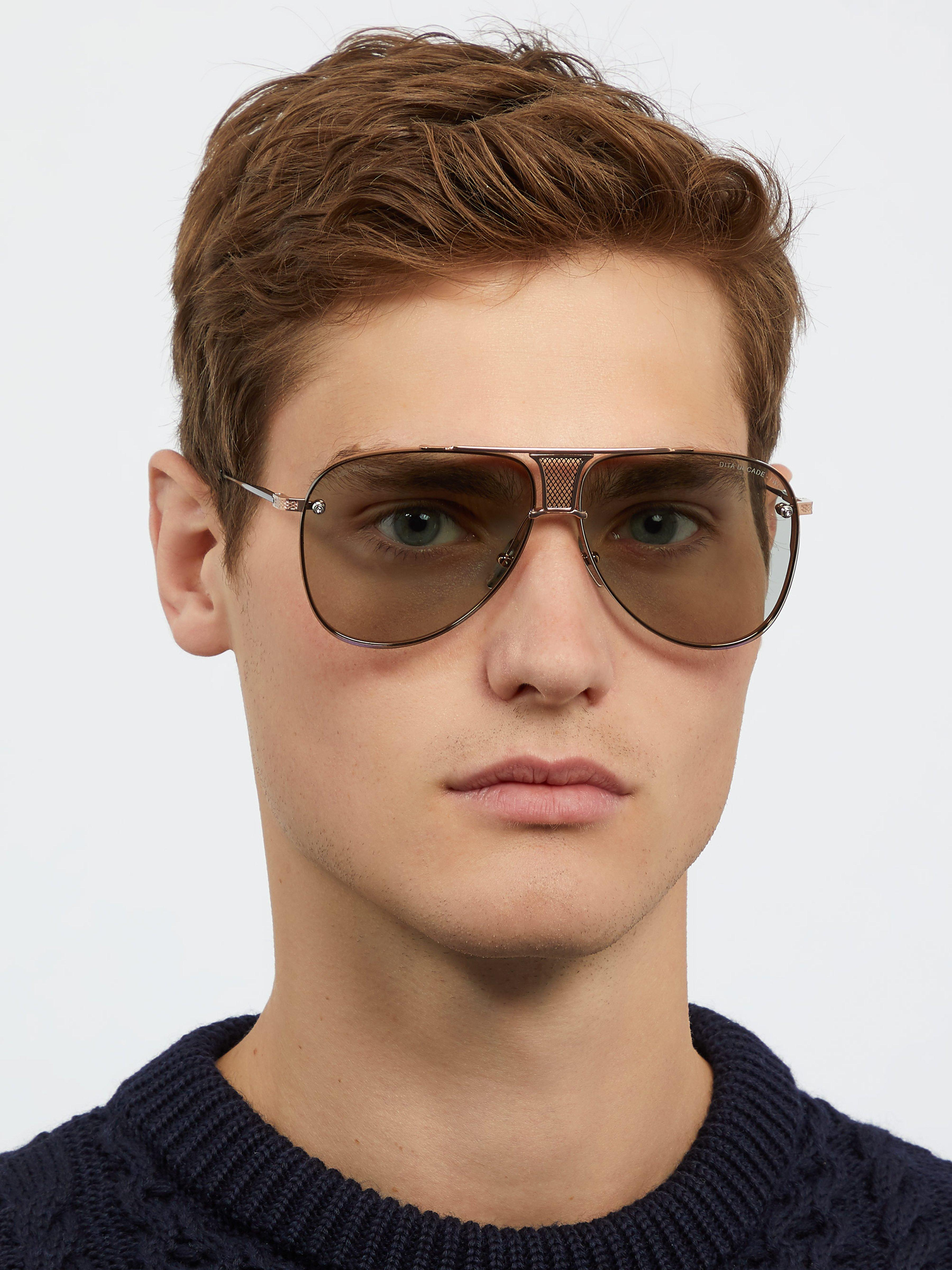 Dita Eyewear Decade Two Aviator Titanium Sunglasses in Gold (Metallic) for Men