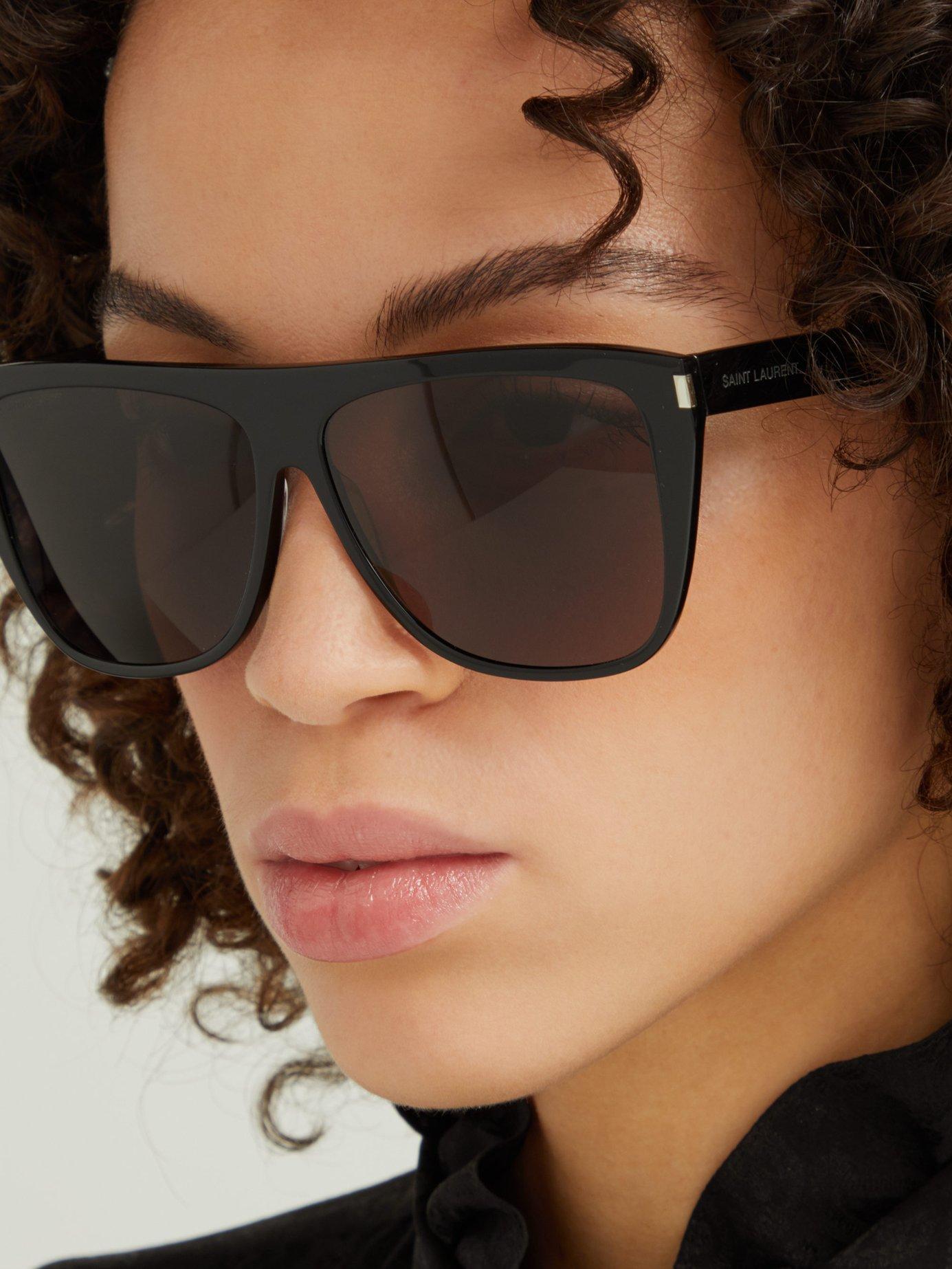 60aa6064d5 Saint Laurent - Black Slim Flat Top D Frame Acetate Sunglasses - Lyst. View  fullscreen