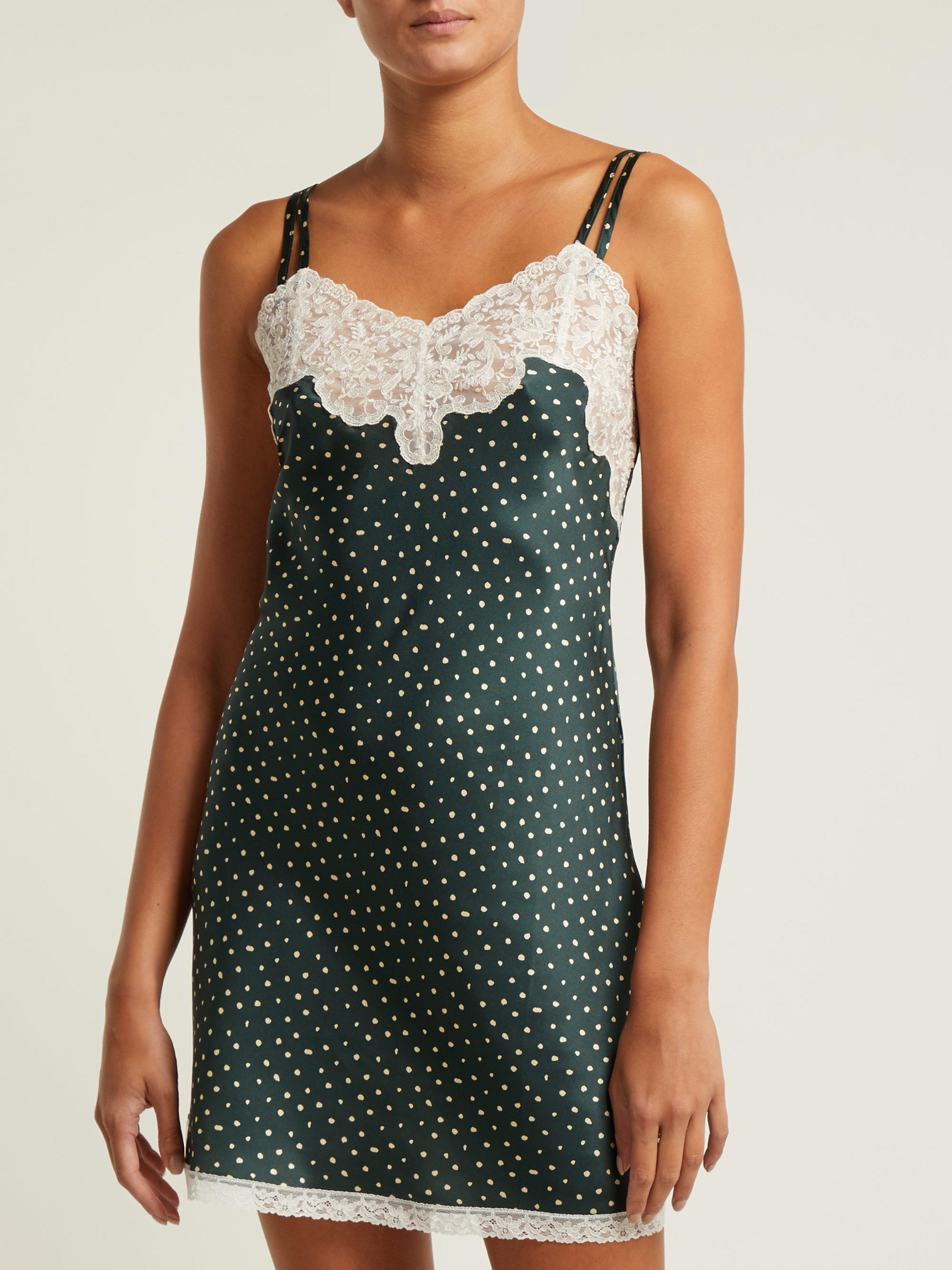 Morpho + Luna Margot Silk Nightdress in Green Print (Green)
