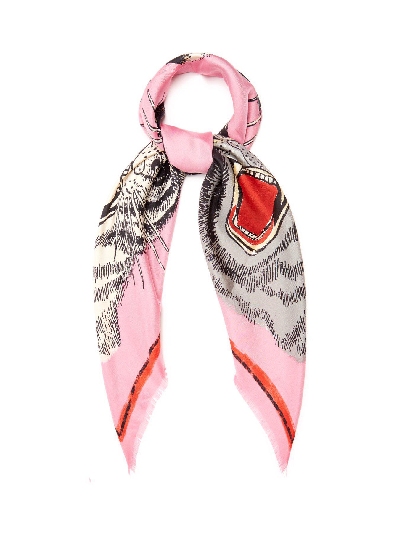 ad60b72b1 Gucci Pink Tiger Face-print Silk-twill Scarf