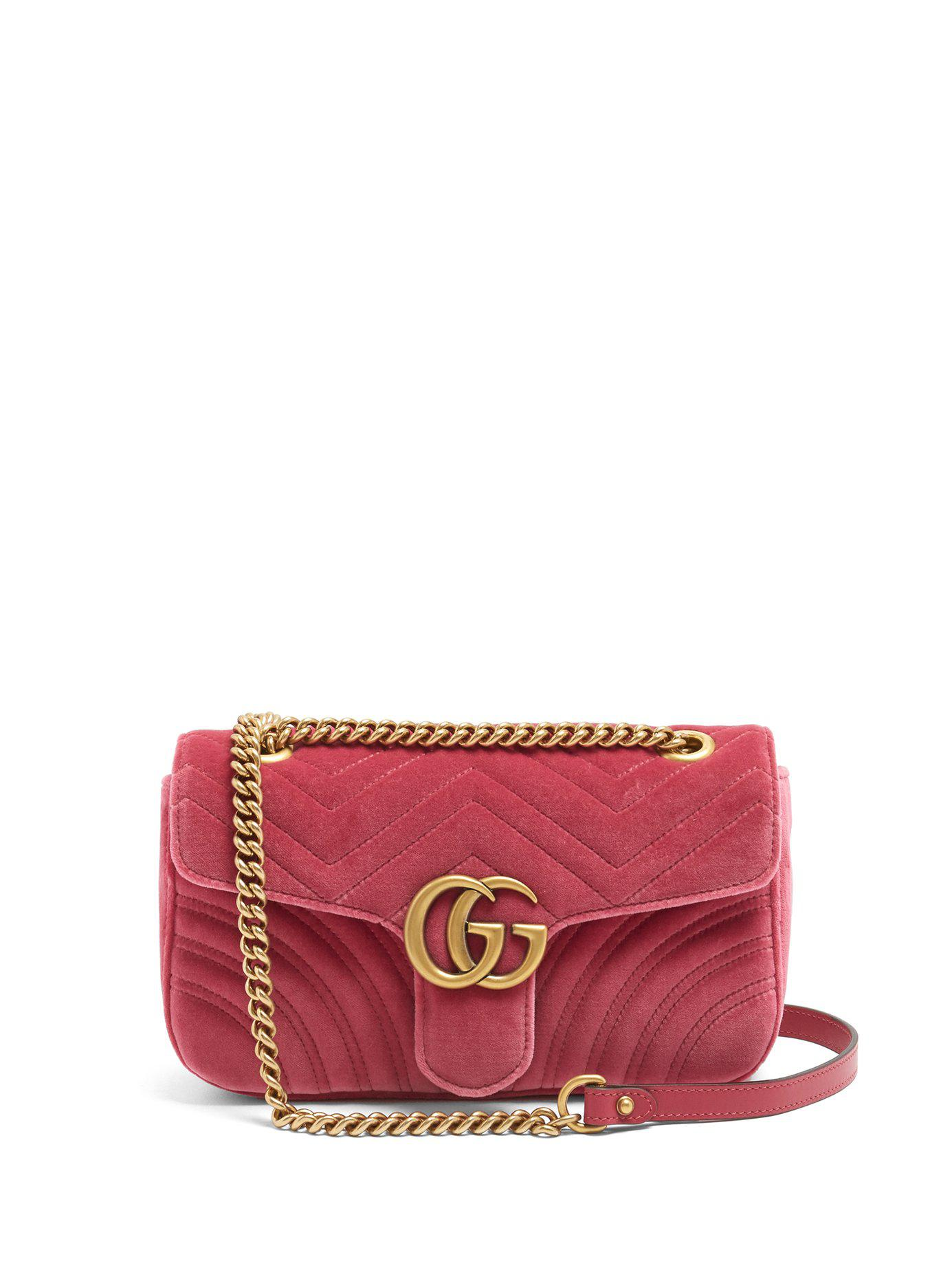 2579d7173e73 Gucci Gg Marmont Small Quilted Velvet Cross Body Bag in Pink - Lyst