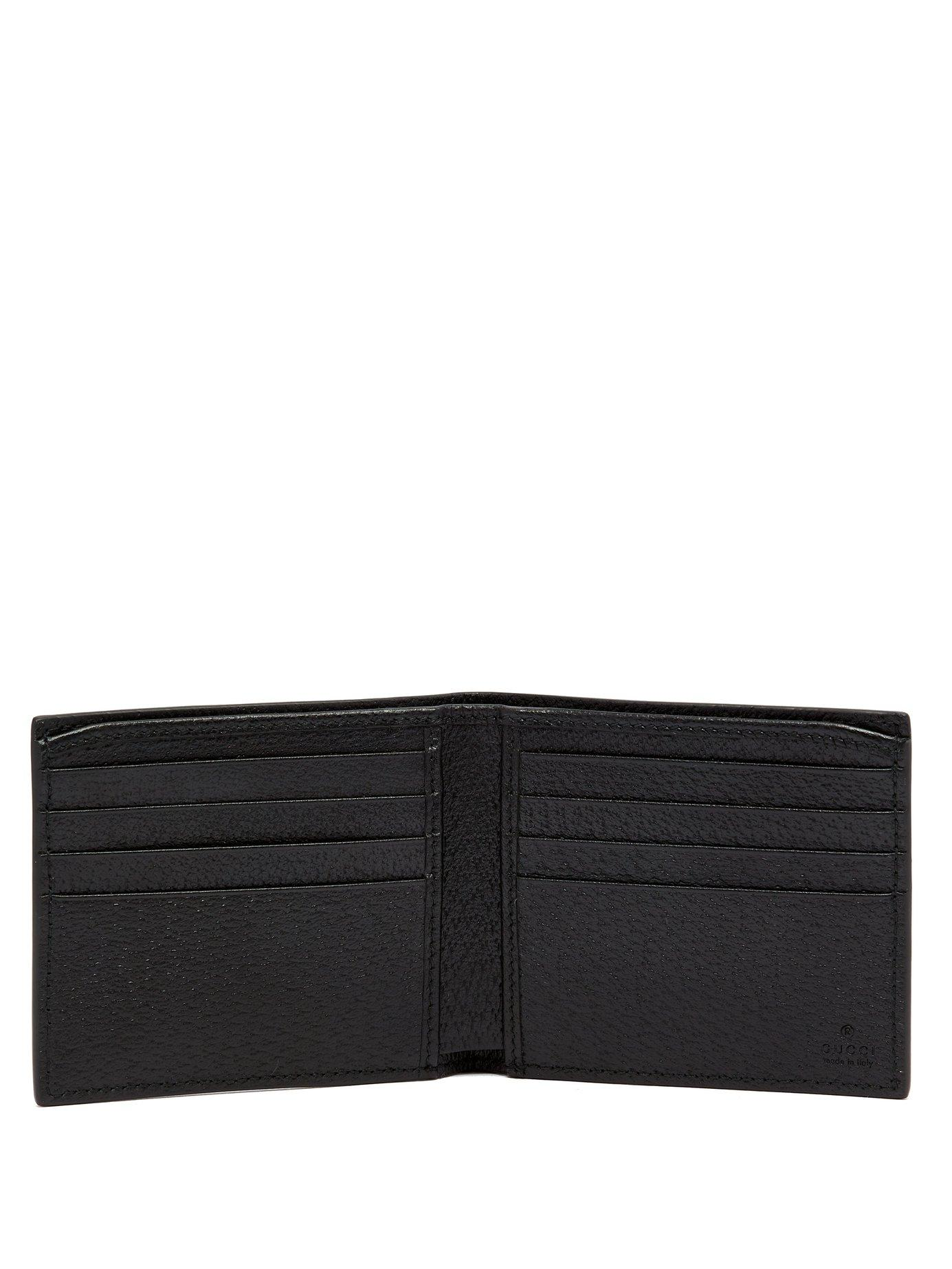 6e9f7536ab1 Lyst - Gucci Gg Marmont Grained Leather Bi Fold Wallet in Black for Men -  Save 16%