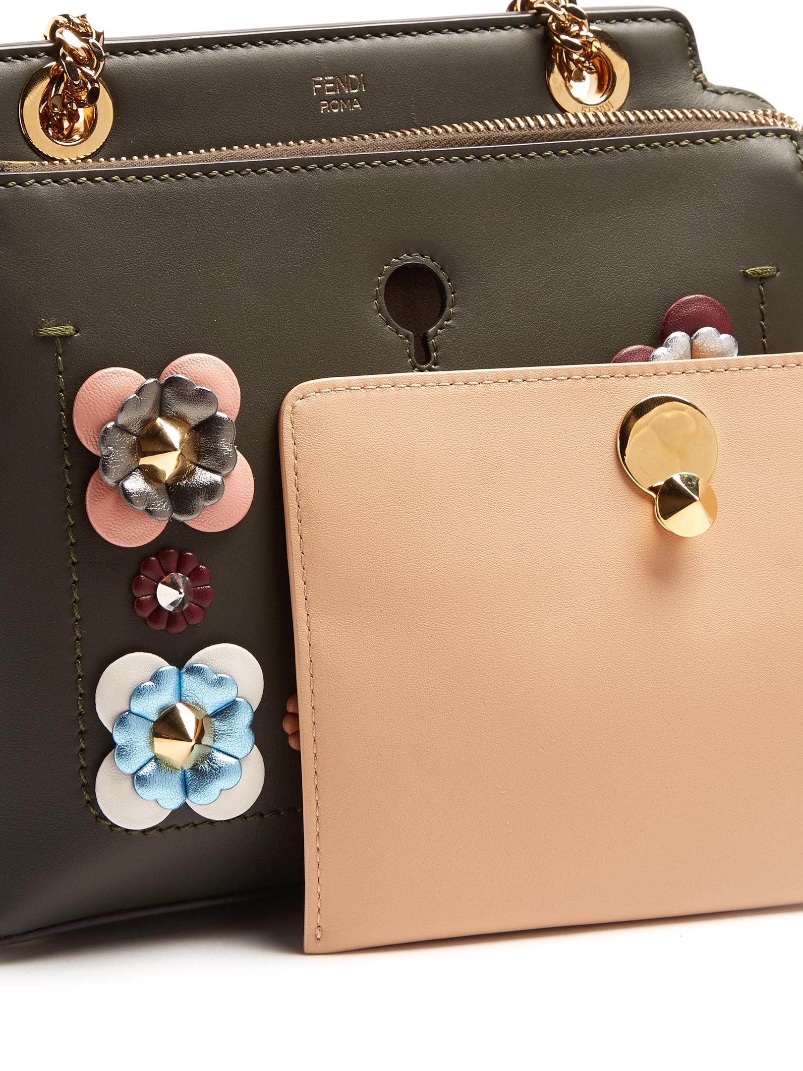 86f467c15bbb Lyst - Fendi Dotcom Small Flower-appliqué Leather Bag in Green