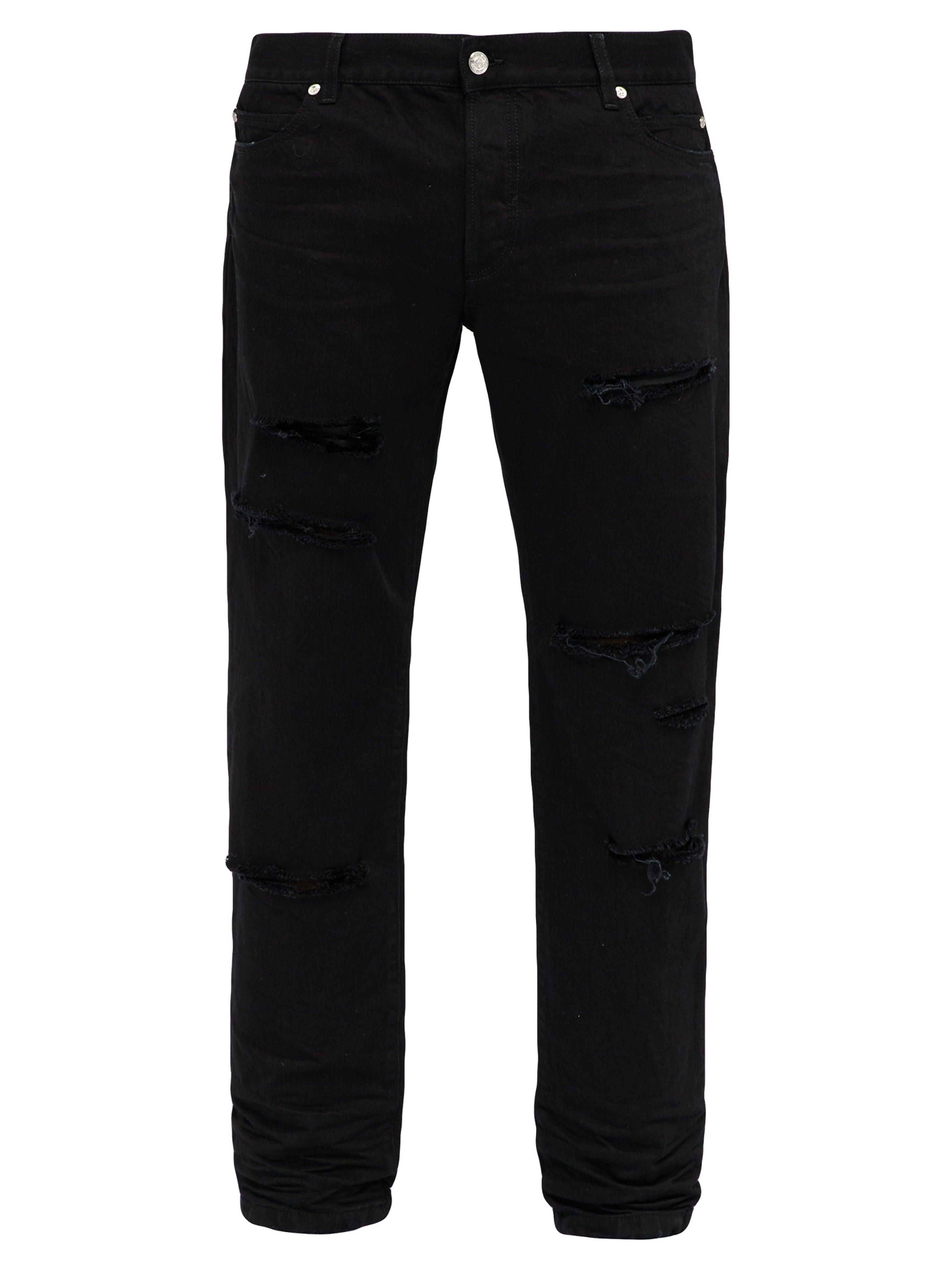 ed173daa Balmain Ripped Mid Rise Straight Leg Jeans in Black for Men - Lyst