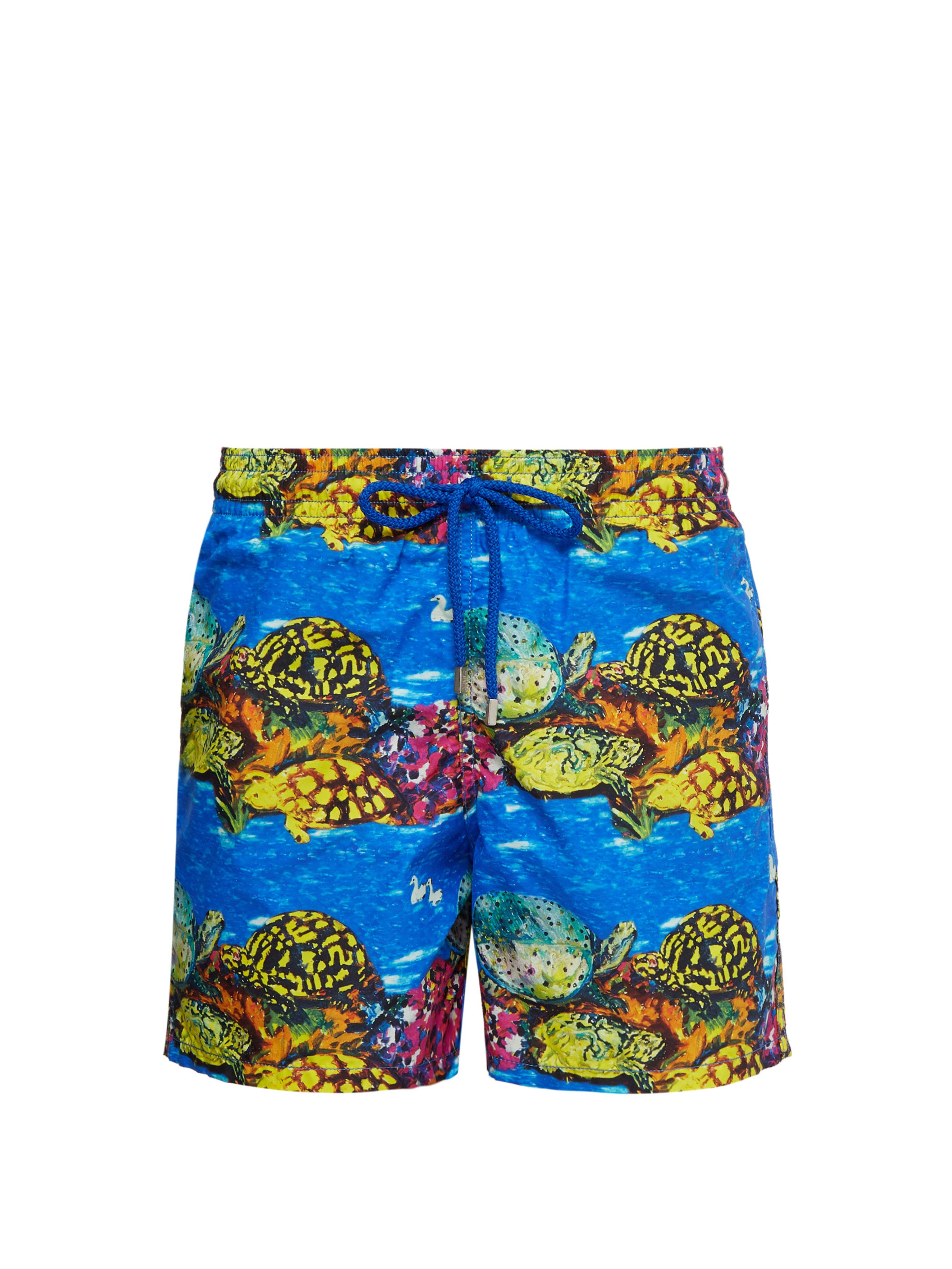 42194e31c6 Vilebrequin. Men's Moorea Hunt Slonem Swimshorts, Atoll Blue Swimming Trunks