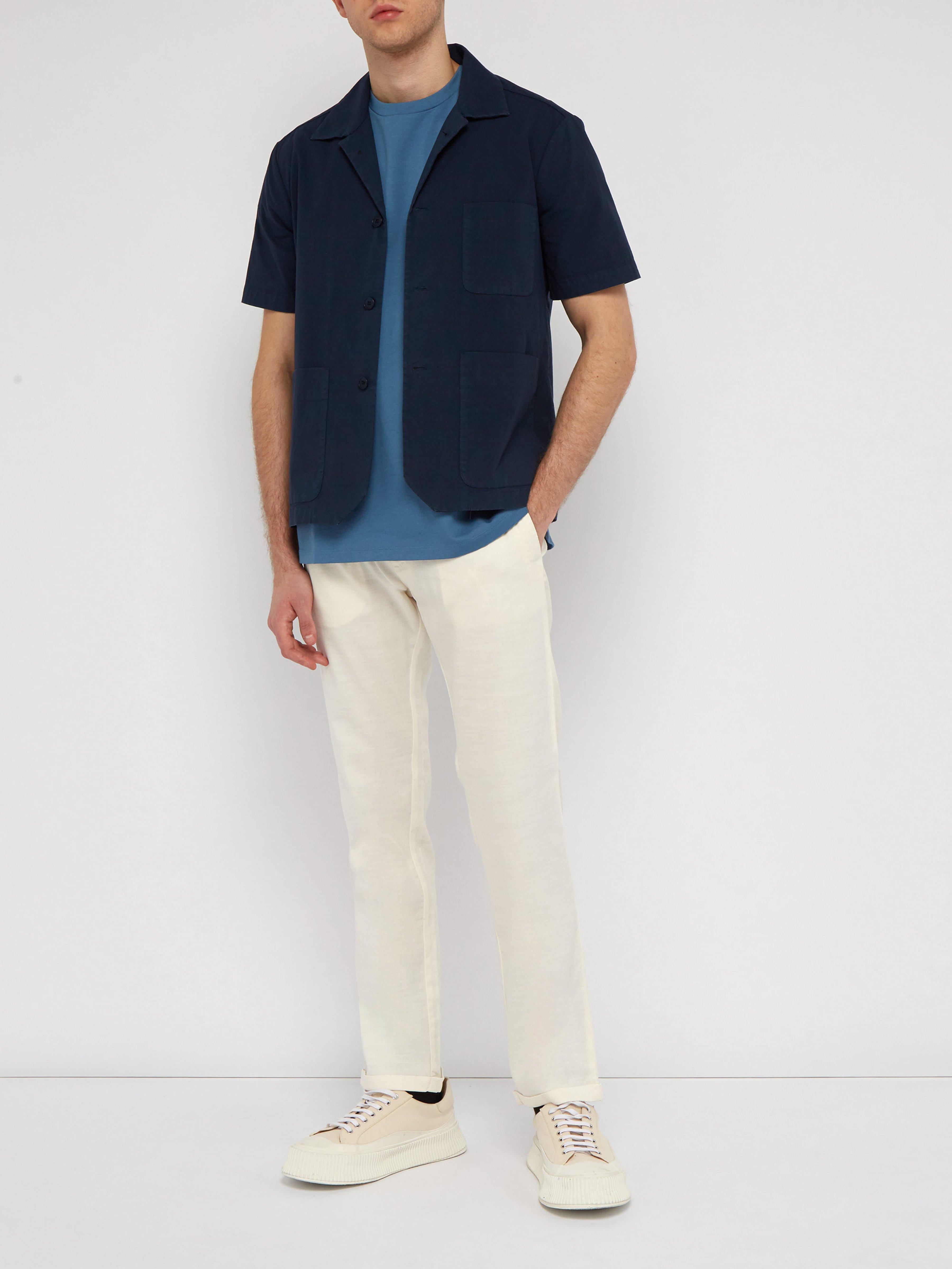 3101186cc6e Barena Slim Fit Linen Blend Trousers in White for Men - Lyst
