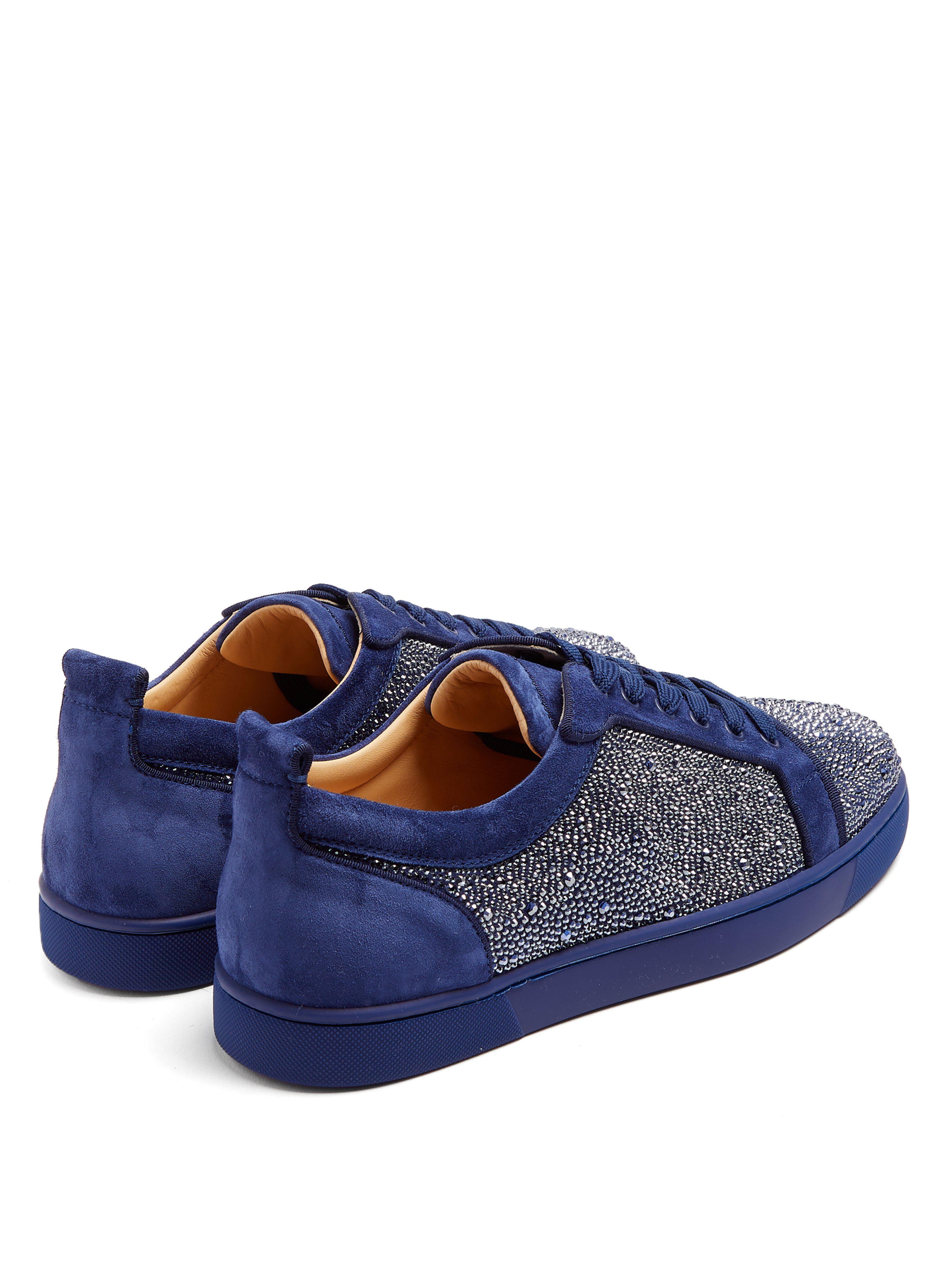 Baskets basses en cuir ornementées Louis Strass homme de coloris bleu