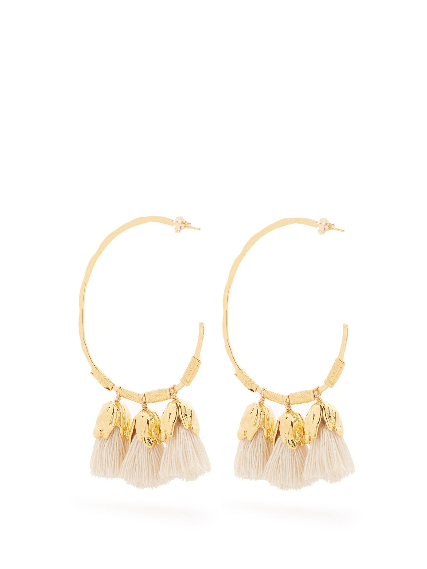 Elise Tsikis Paris Hora white tassel-drop earrings AbZrQ6NxK0