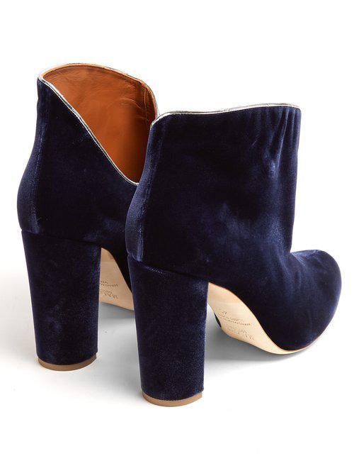 Malone Souliers Eula Block-heel Velvet Boots in Navy (Blue)