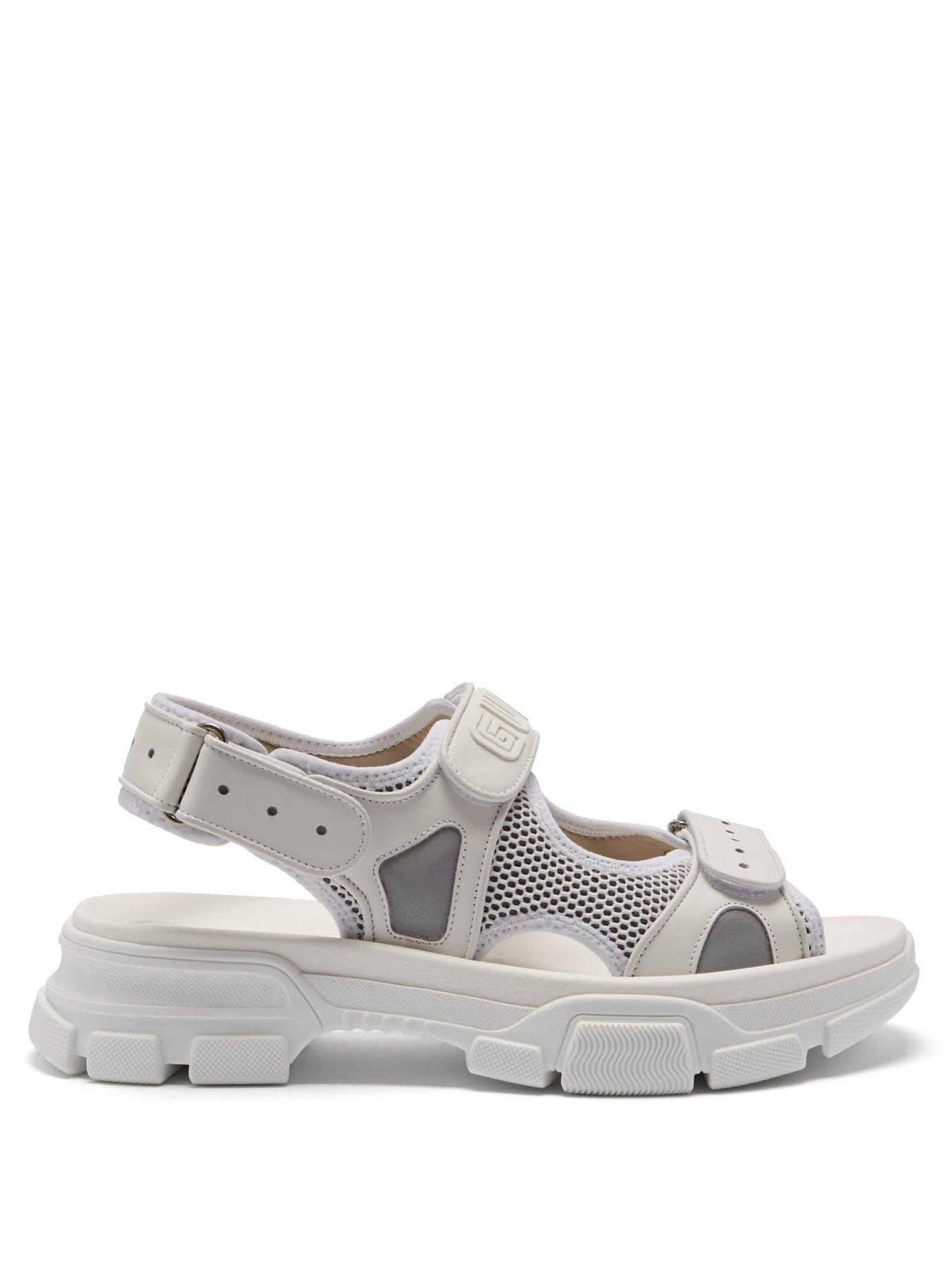 4c4e27b22 Gucci Leather And Mesh Sandals in White for Men - Lyst