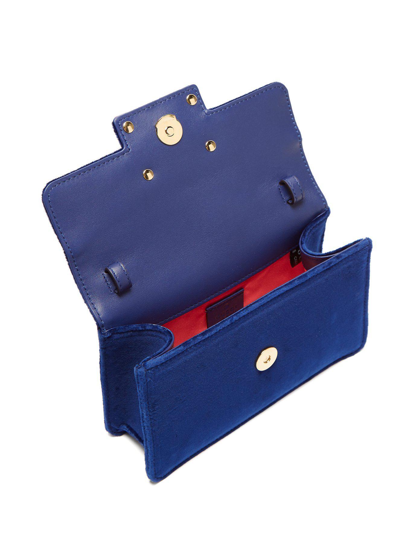a47150667dea Gucci - Blue Broadway Crystal G Velvet Cross Body Bag - Lyst. View  fullscreen