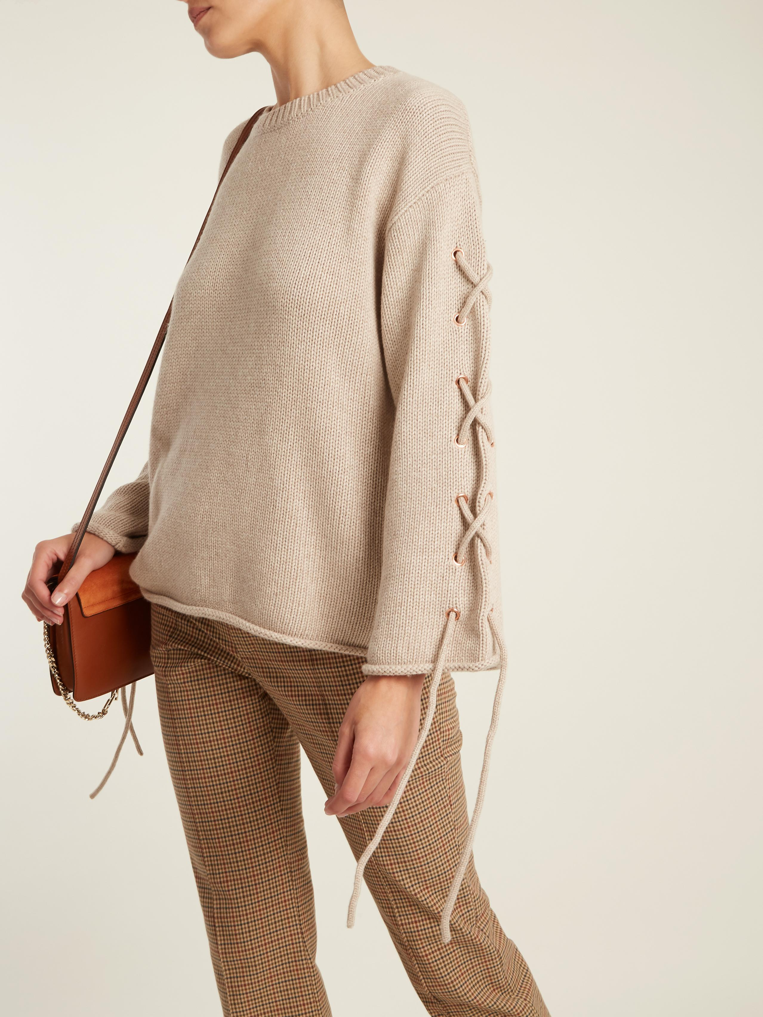 d1376f15 See By Chloé Natural Lace-up Rolled-edge Knit Sweater