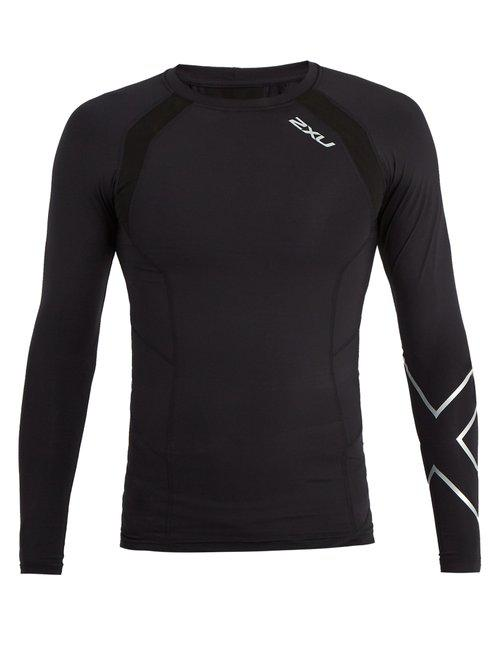 2XU Synthetic Compression Long Sleeve Top in Black/Silver (Black) for Men