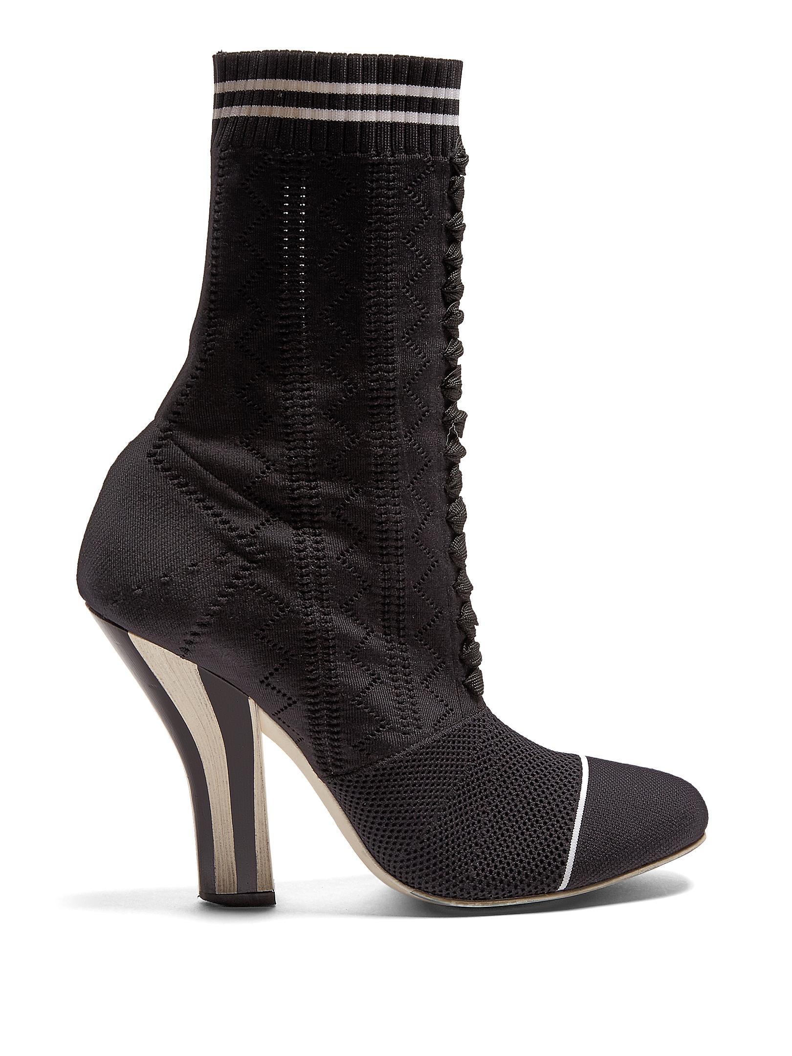 Fendi Stretch Fabric Boots in Black