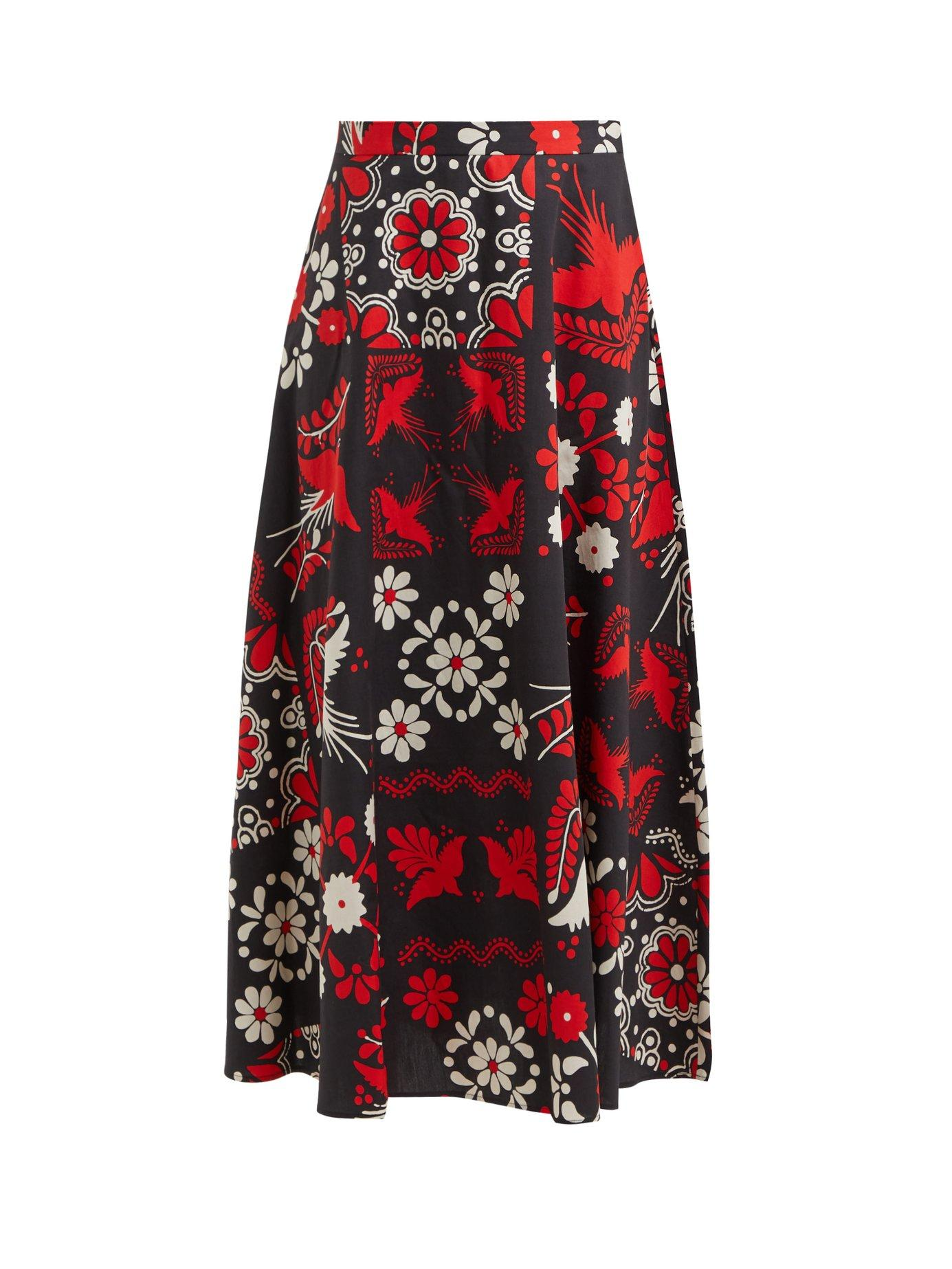 ace8f2b31 Lyst - RED Valentino Floral And Bird Print Cotton Maxi Skirt in Red ...