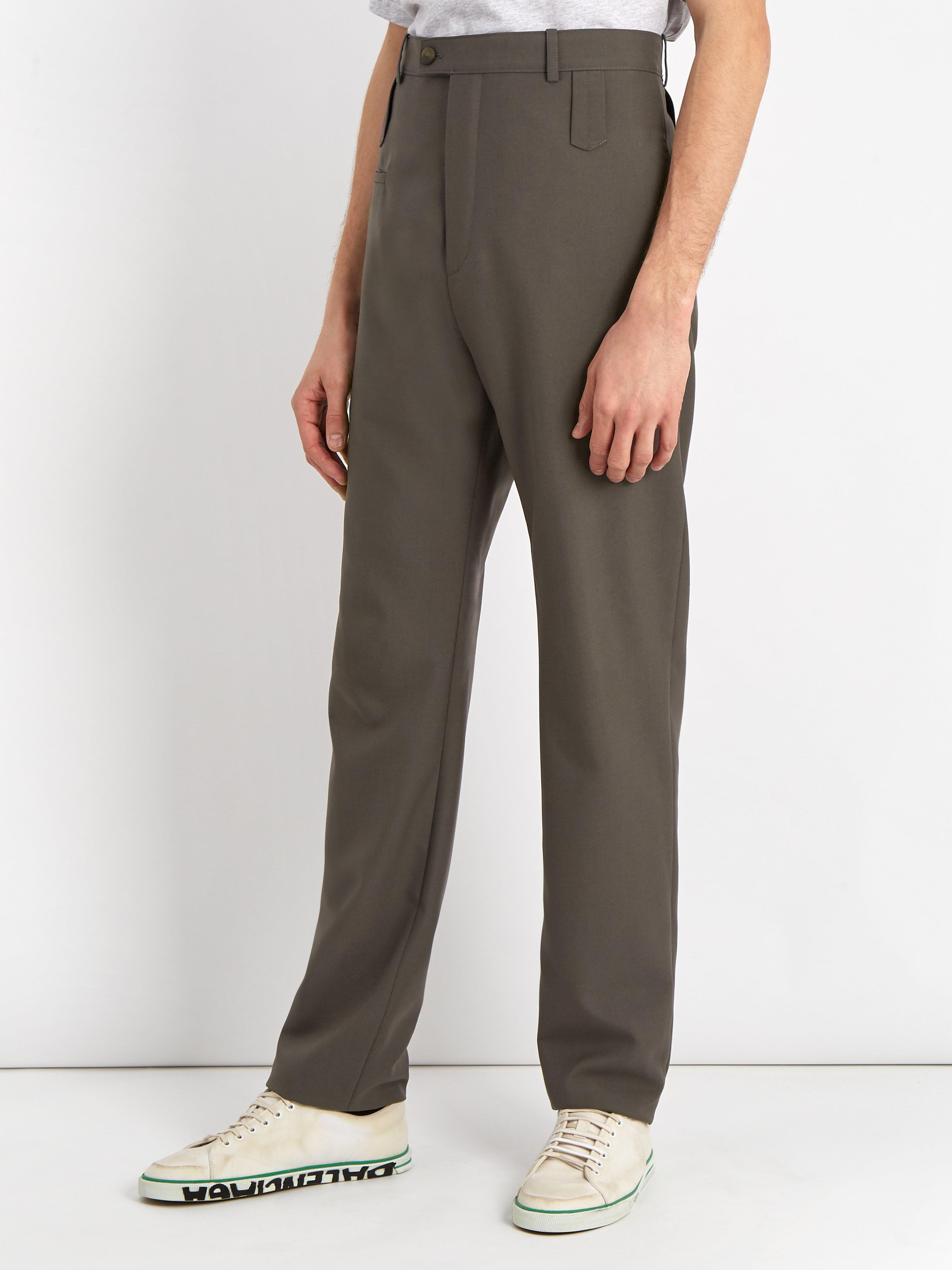 Balenciaga High Rise Wool Blend Trousers in Grey (Grey) for Men
