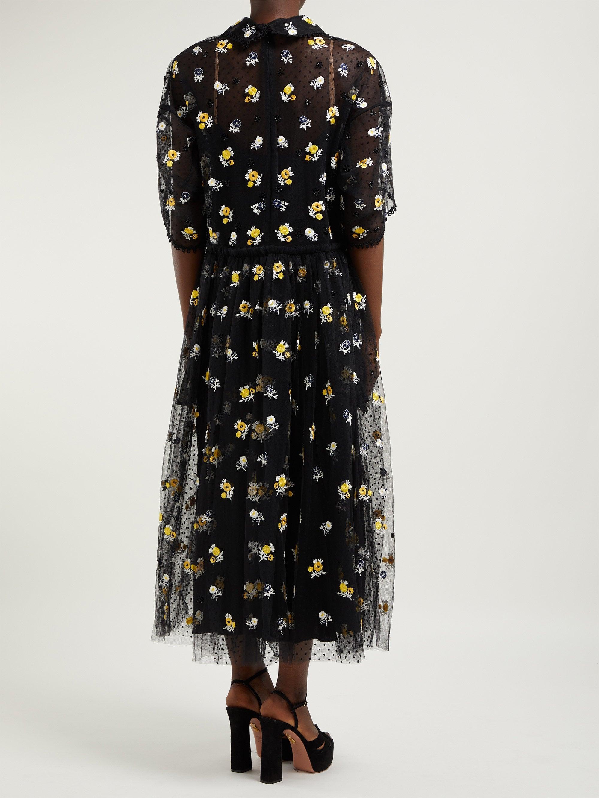 Robe en tulle à broderie fleurs Anita Biyan en coloris Noir