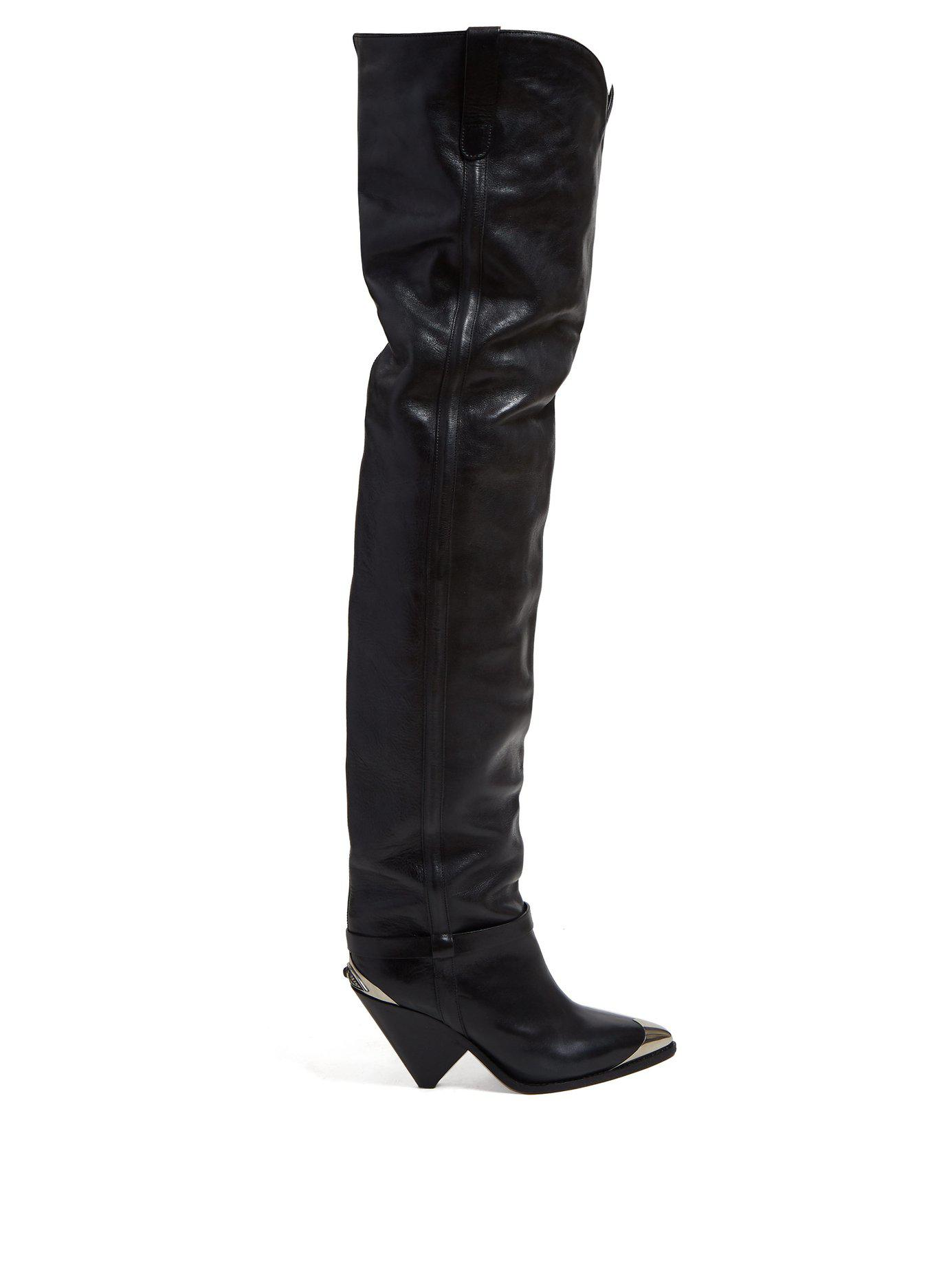 ec67fbbbe07 Lyst - Isabel Marant Lafsten Thigh High Leather Boots in Black