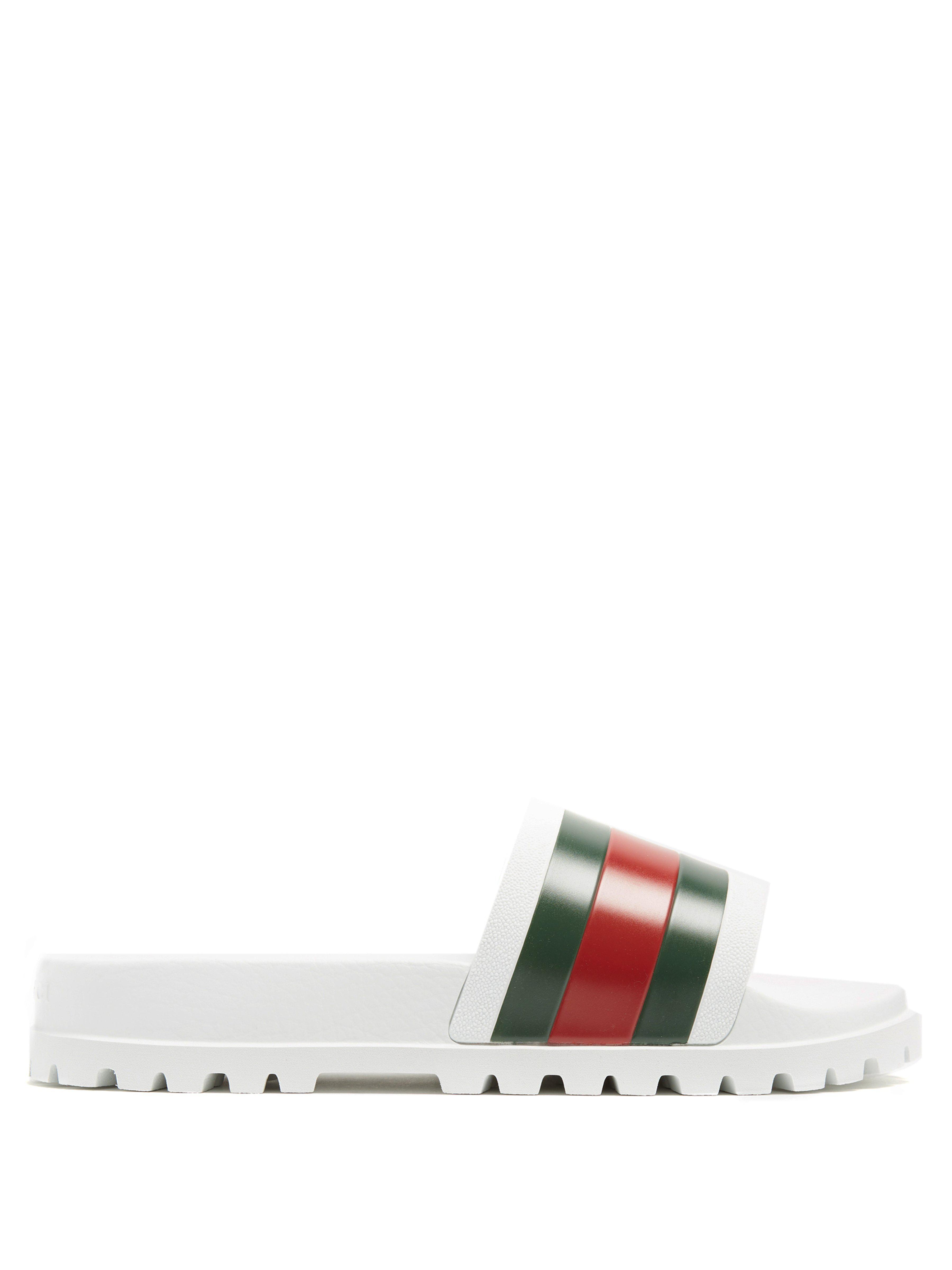 993fc55e93d2ed Gucci Pursuit Web Striped Rubber Pool Slides in White for Men - Lyst