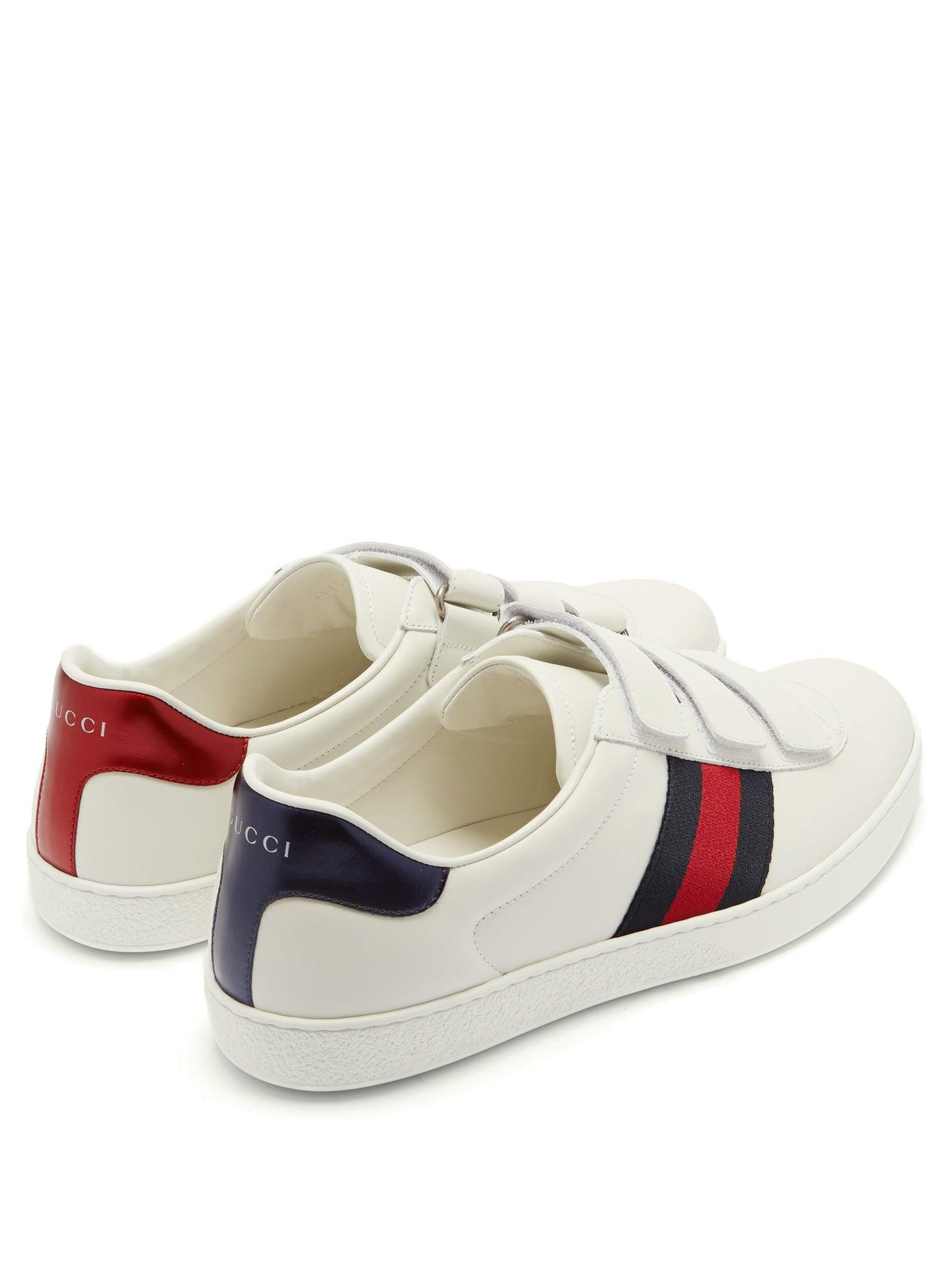 Aceweb new ace web-stripe low-top leather trainers