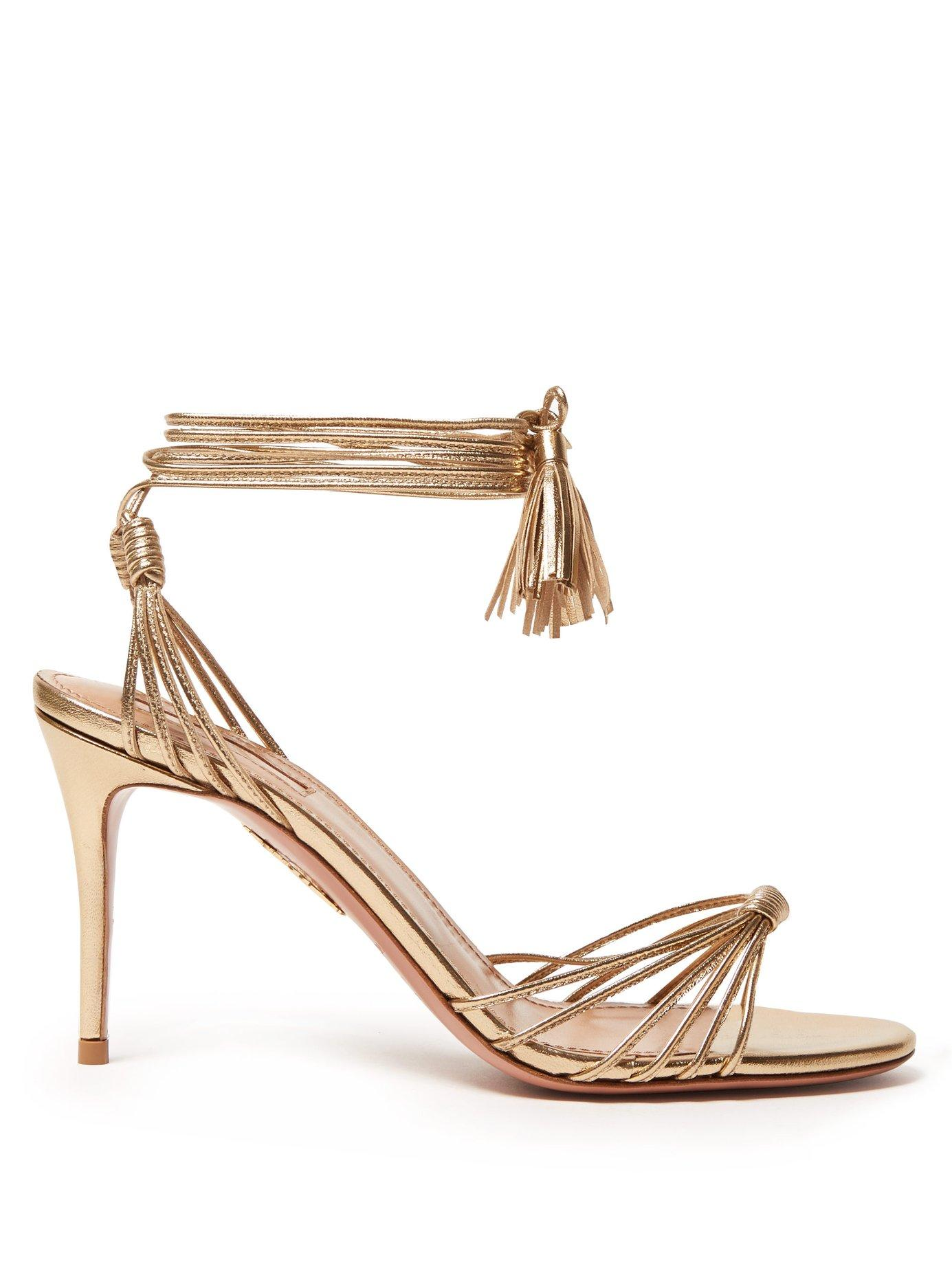 541849171b7 Lyst - Aquazzura Mescal 85 Metallic Wrap Around Leather Sandals in ...
