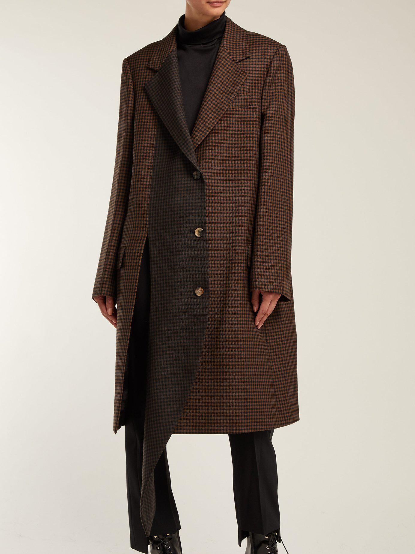 GloryA Womens Thicken Loose Overcoat Plaid Houndstooth Lapel Collar Peacoats