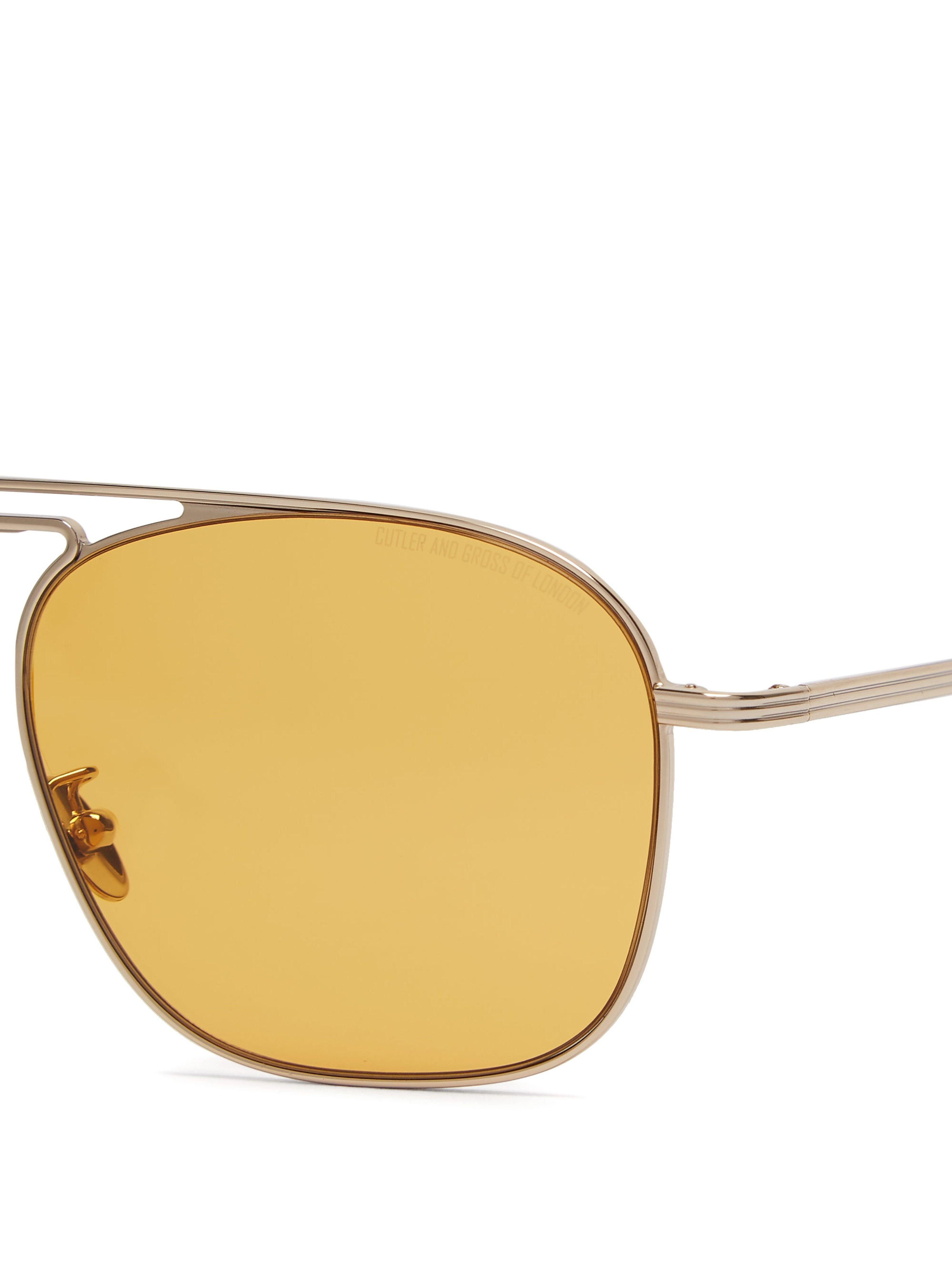 Cutler & Gross Aviator Metal Sunglasses in Silver (Metallic) for Men