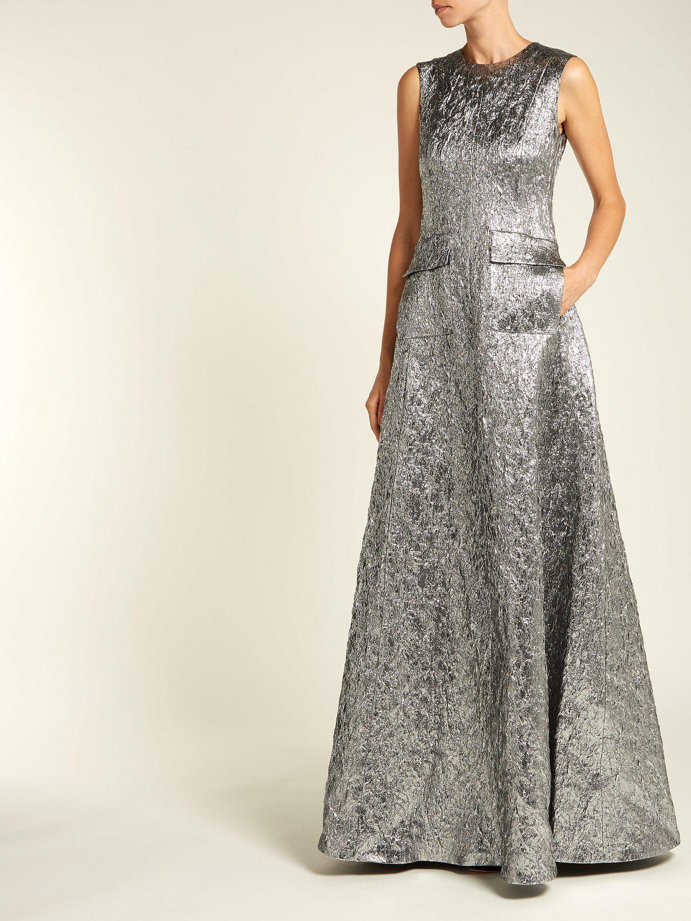 site réputé b5472 2d704 Robe de soirée en brocart de laine mélangée Rochas en coloris Metallic