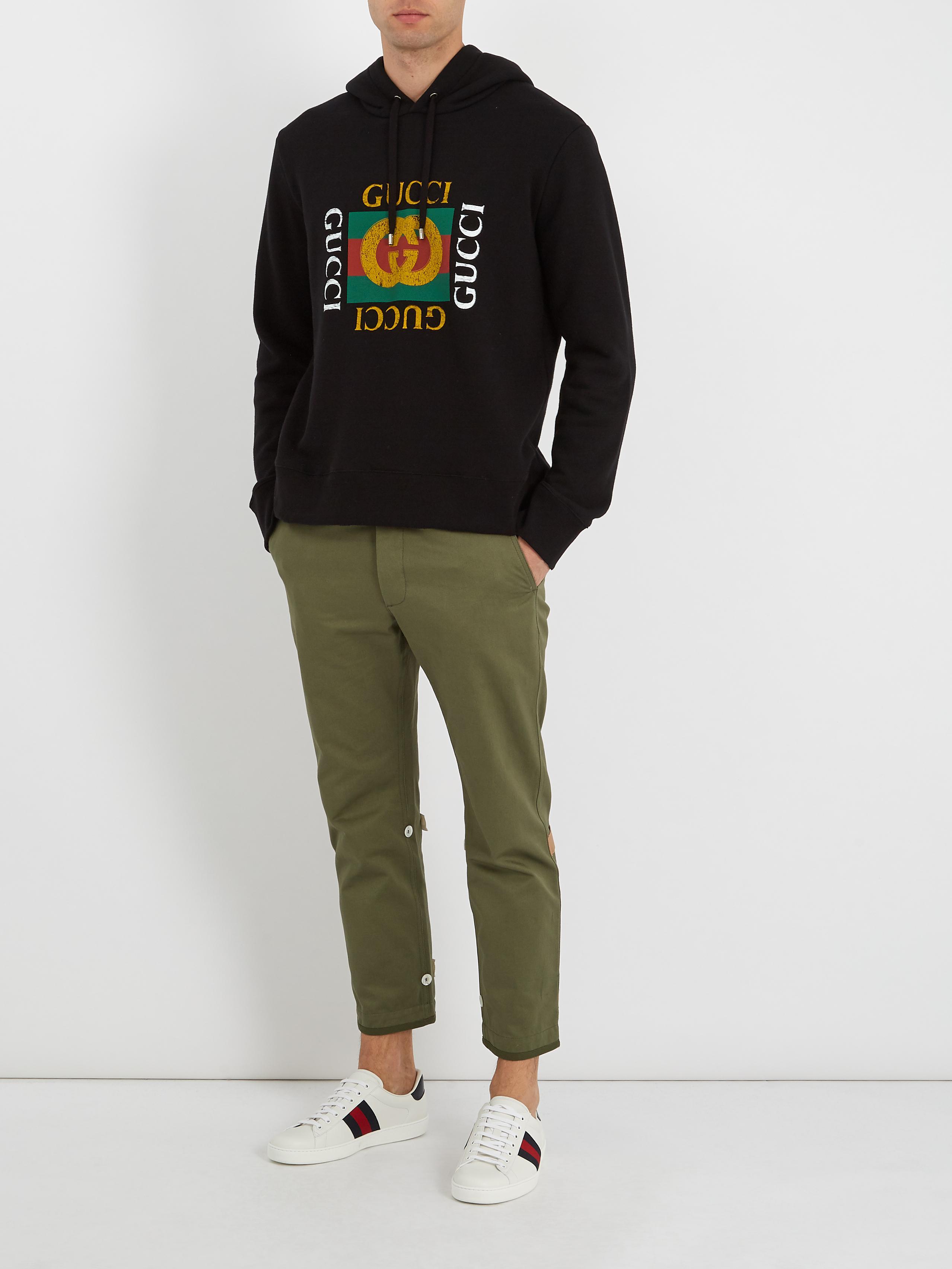 2152baca Gucci Black Logo-print Hooded Cotton Sweatshirt for men